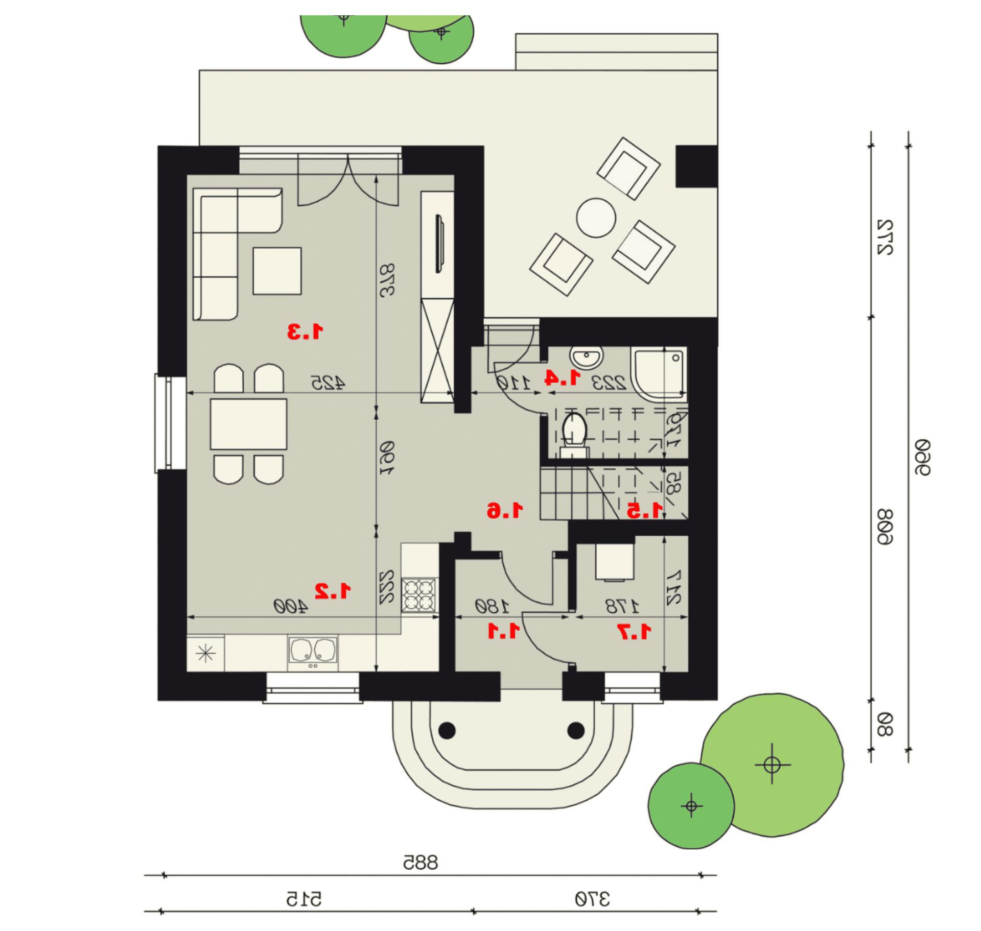 Rzut parteru - projekt domu SEJ-PRO 001 ENERGO - odbicie lustrzane