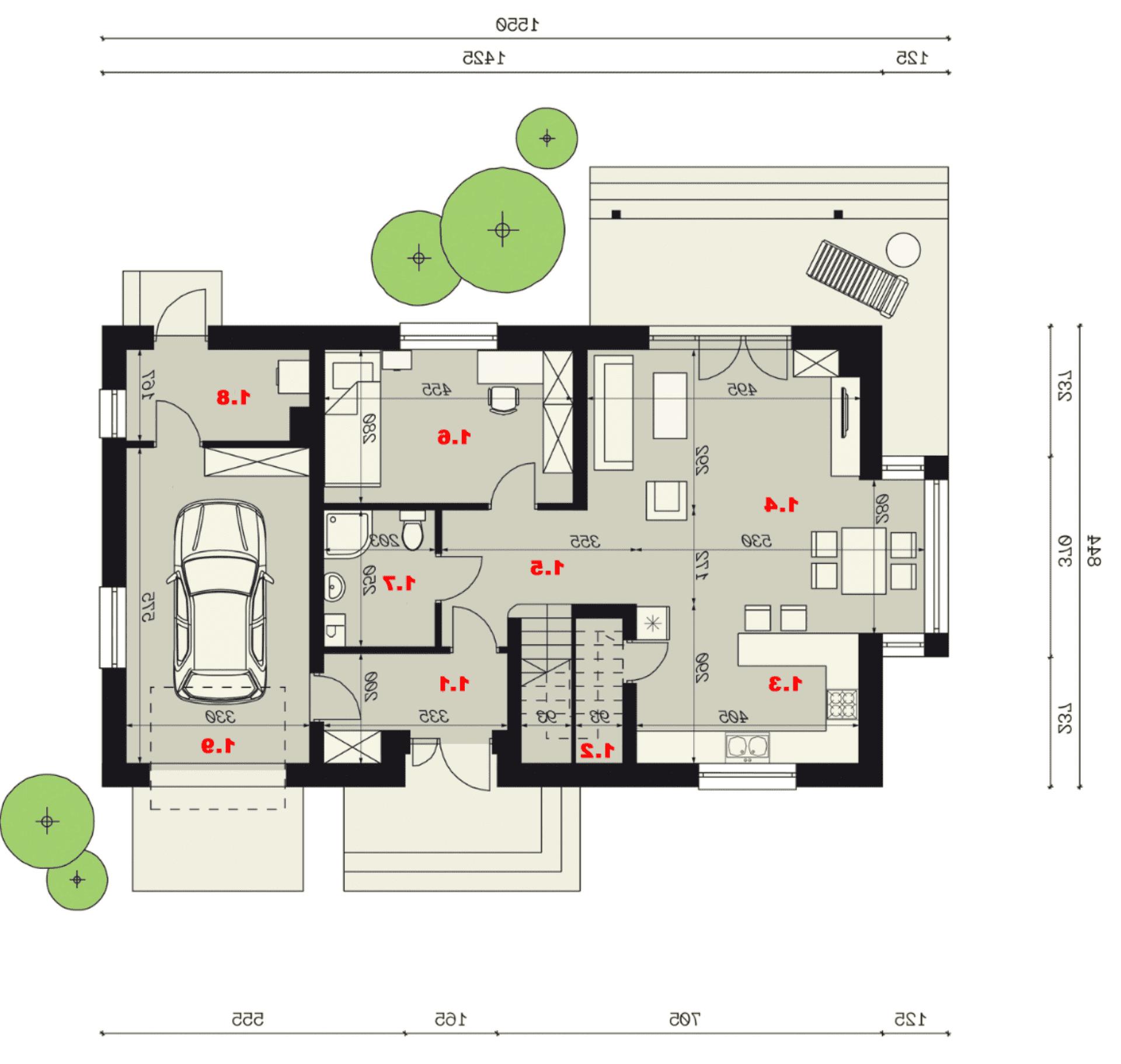 Rzut parteru - projekt domu SEJ-PRO 003 ENERGO - odbicie lustrzane