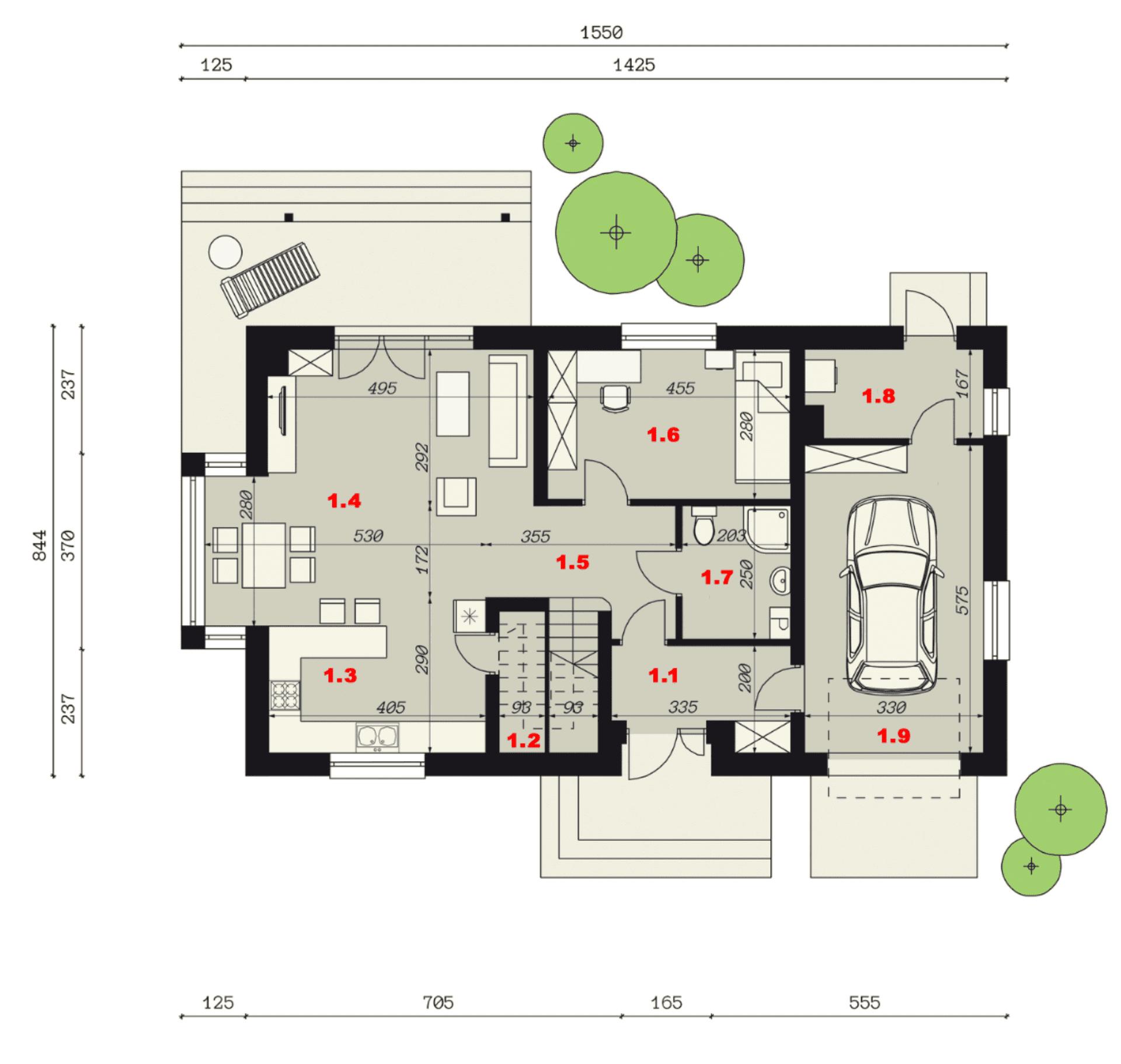 Rzut parteru - projekt domu SEJ-PRO 003 ENERGO