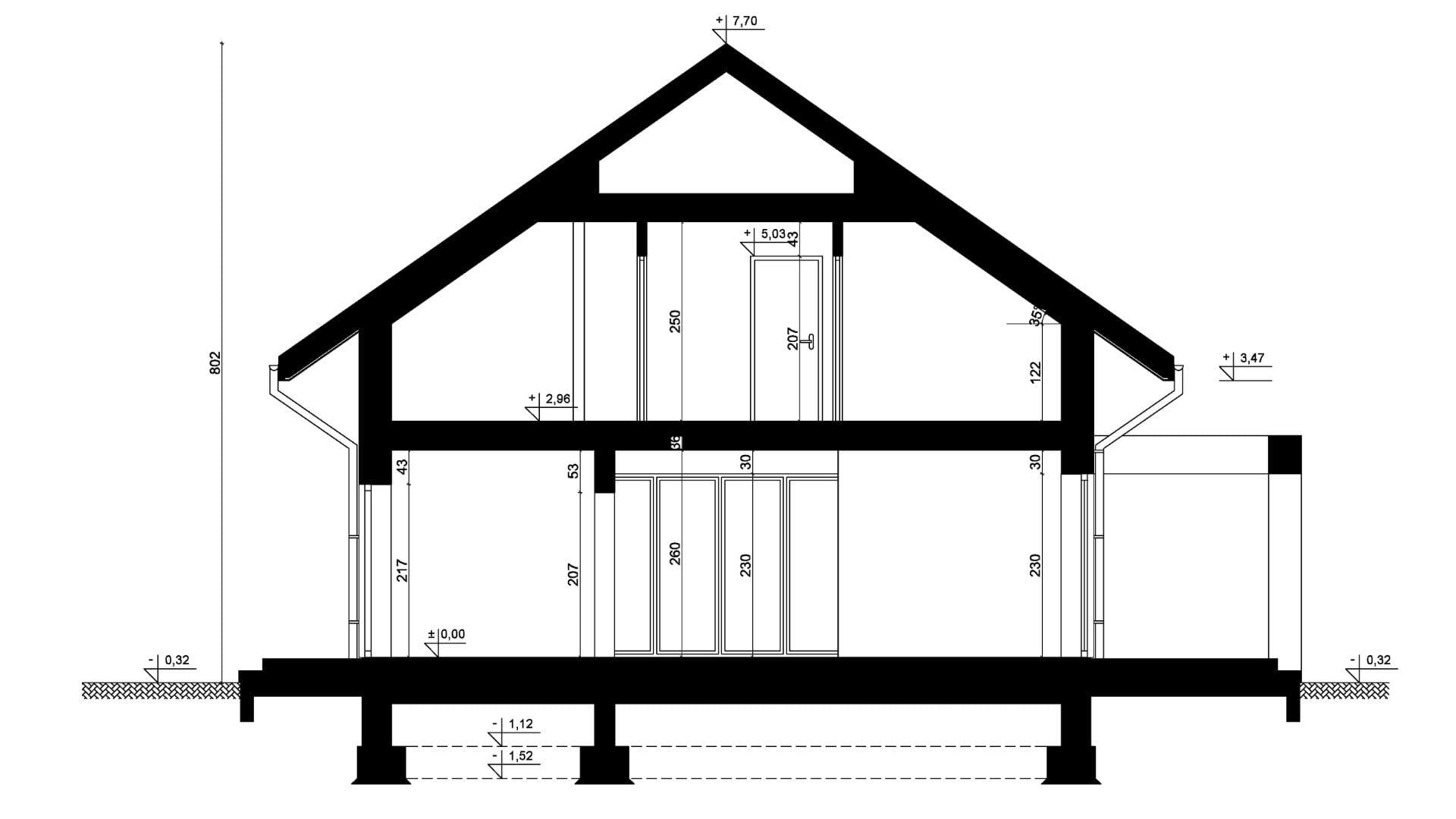 Przekrój A-A - projekt domu SEJ-PRO 047 ENERGO