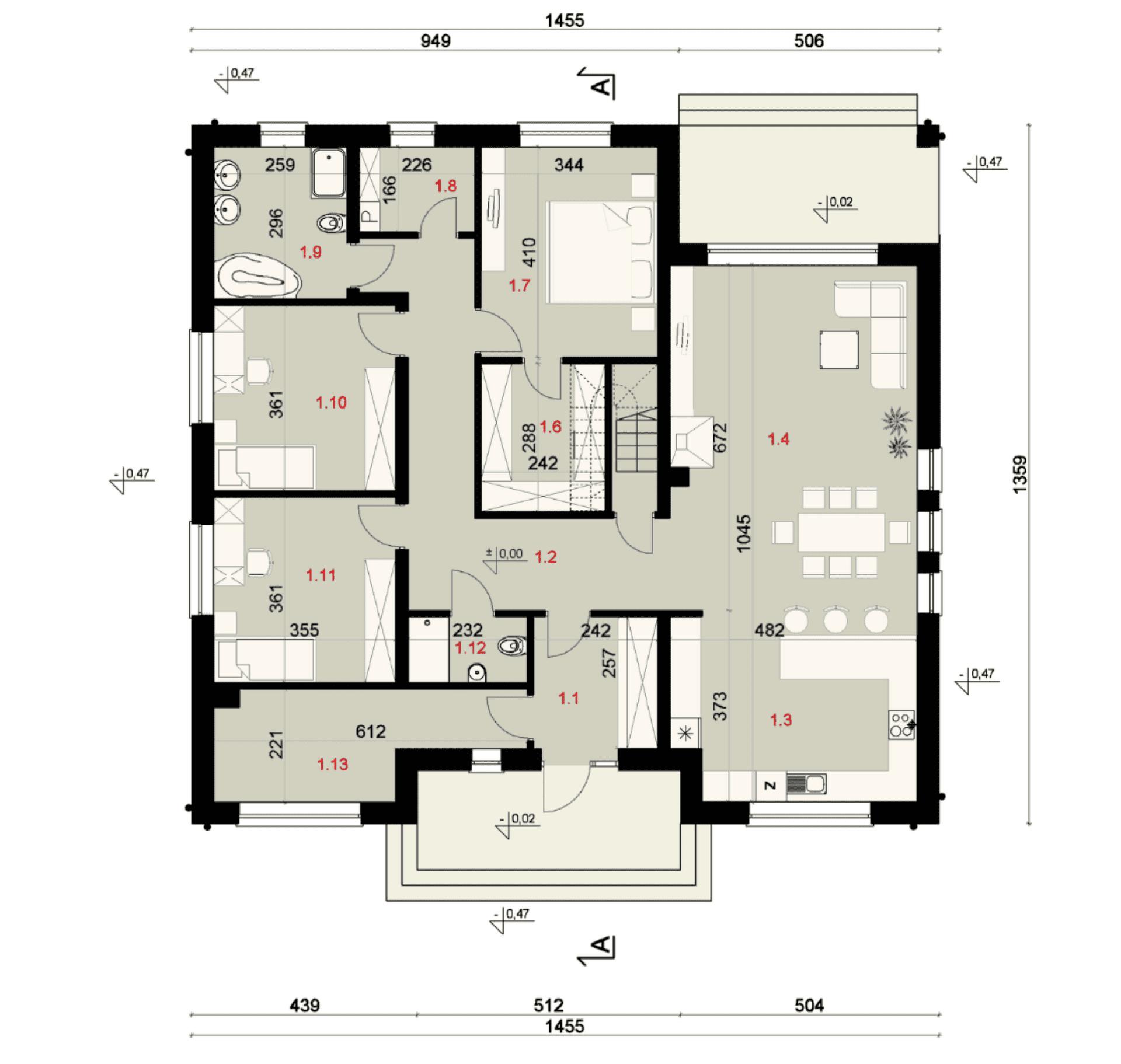 Rzut parteru - projekt domu SEJ-PRO 006 ENERGO