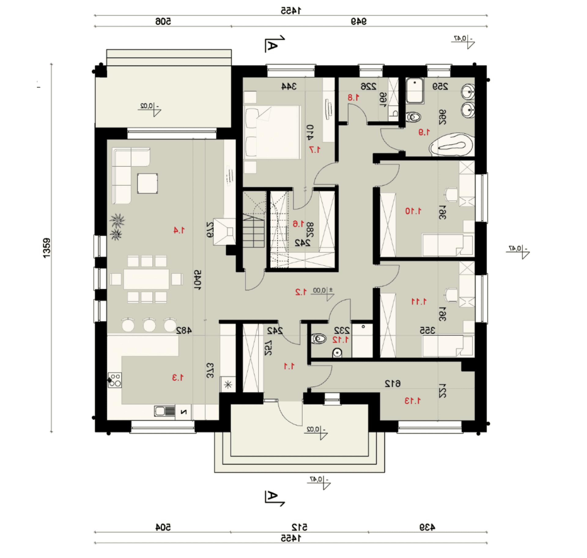 Rzut parteru - projekt domu SEJ-PRO 006 ENERGO - odbicie lustrzane