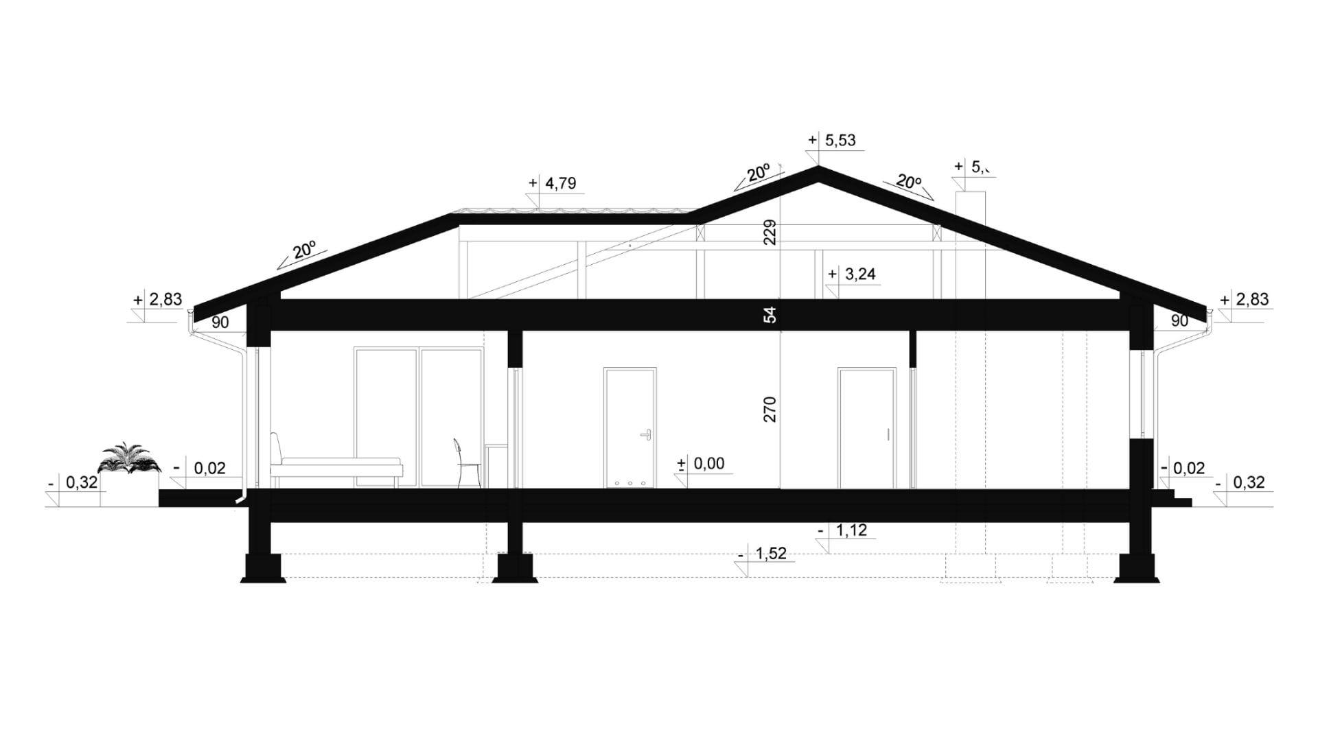 Przekrój A-A - projekt domu SEJ-PRO 027 ENERGO