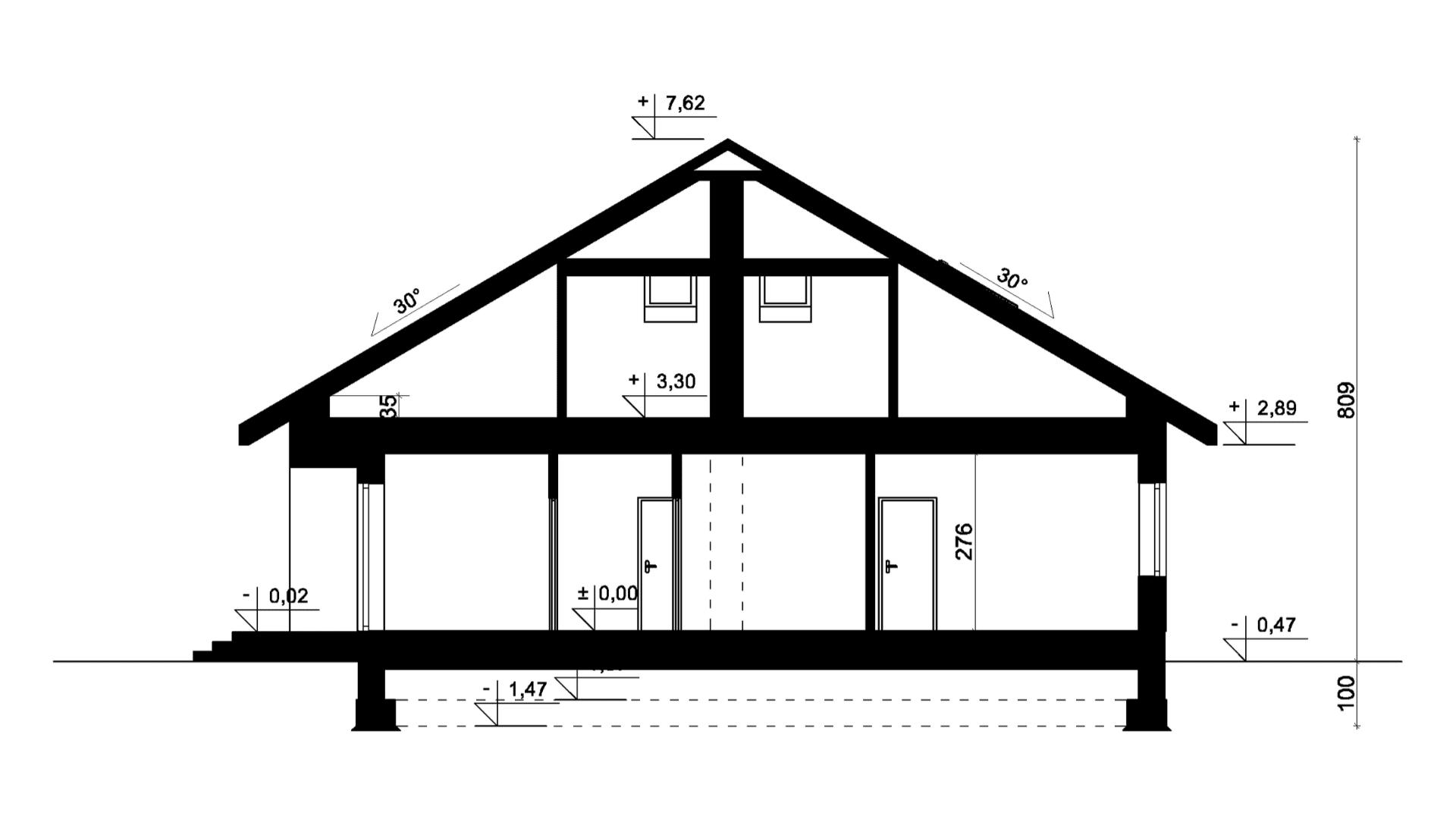 Przekrój A-A - projekt domu SEJ-PRO 006/1 ENERGO
