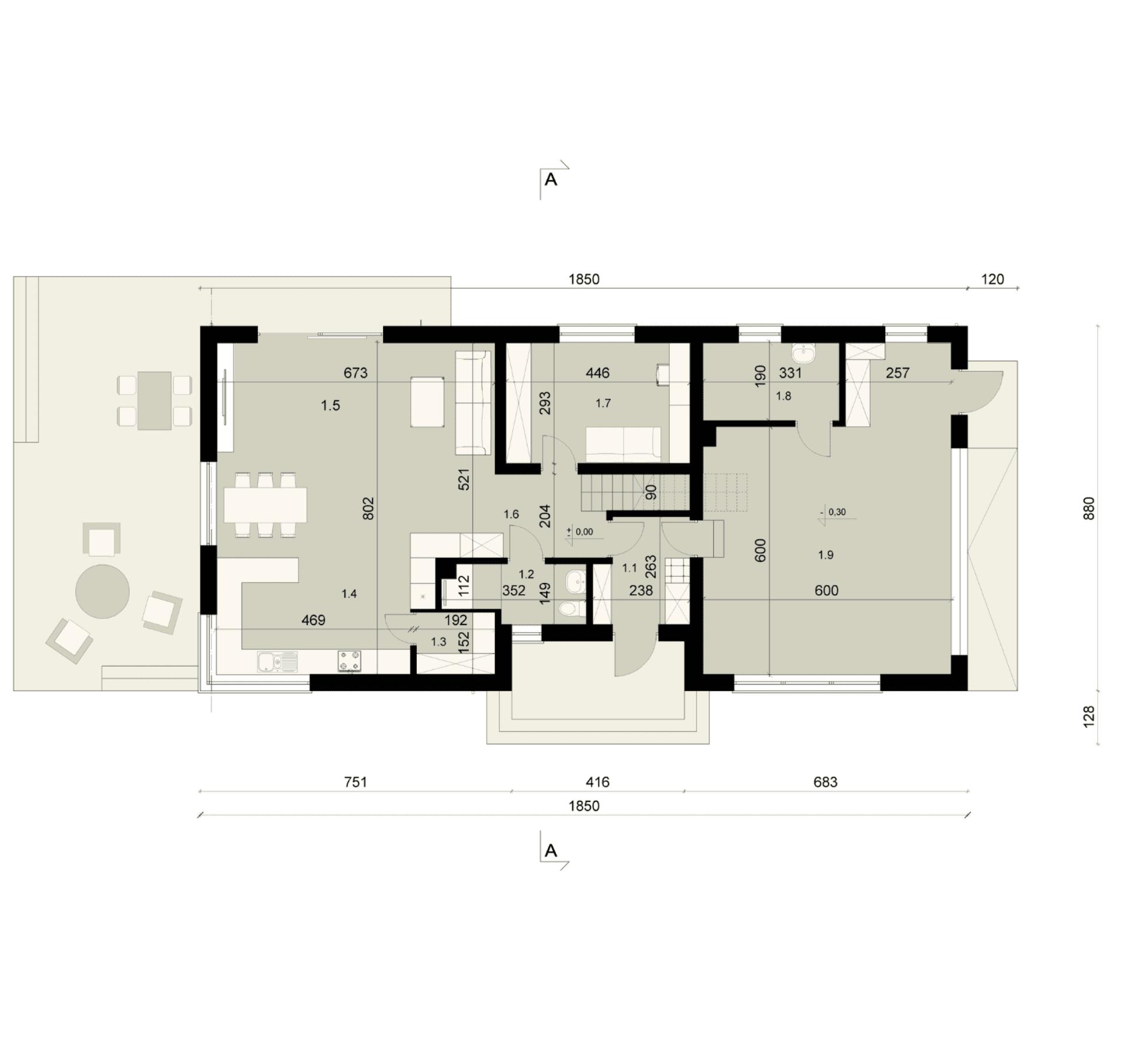 Rzut parteru - projekt domu SEJ-PRO 018 ENERGO