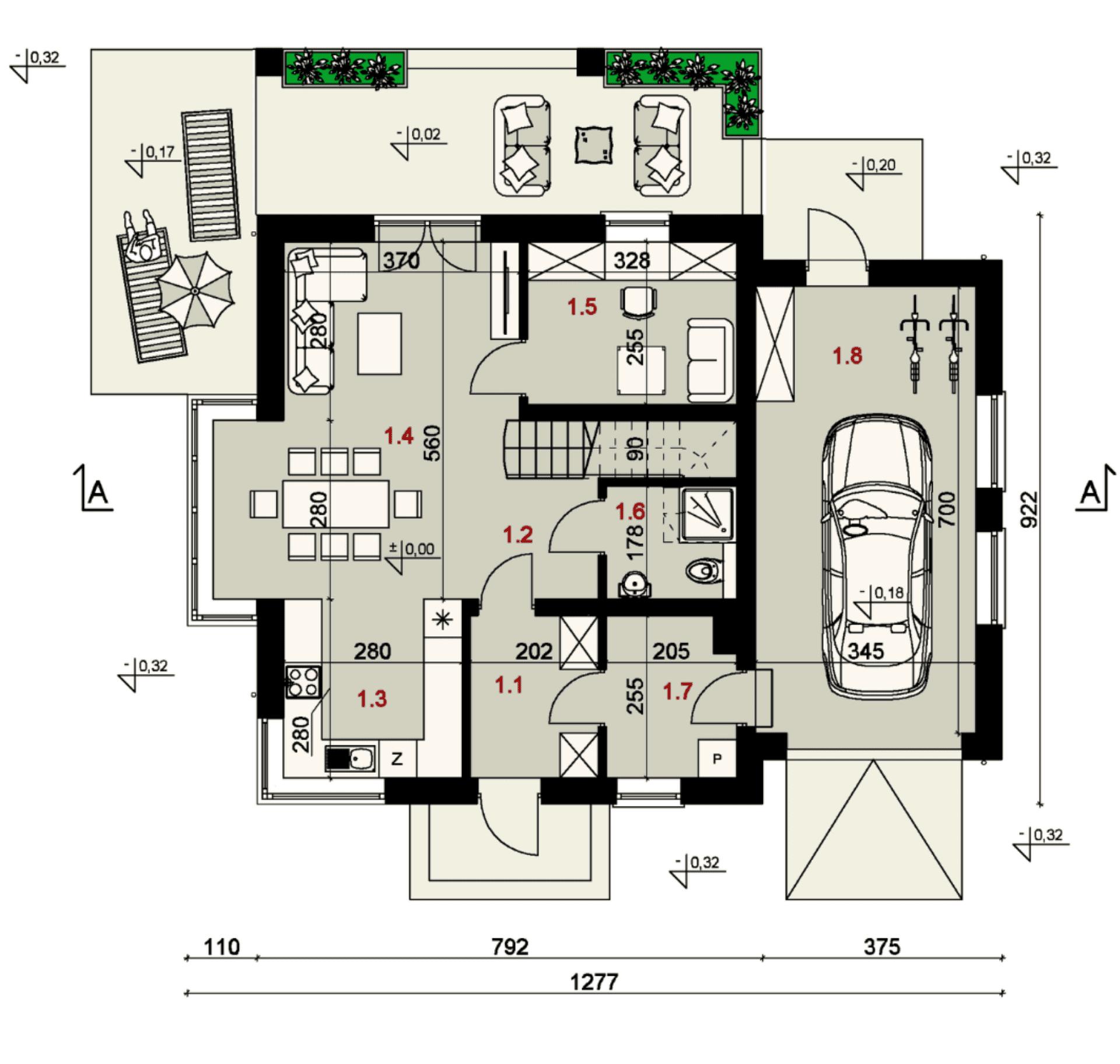 Rzut parteru - projekt domu SEJ-PRO 047 ENERGO