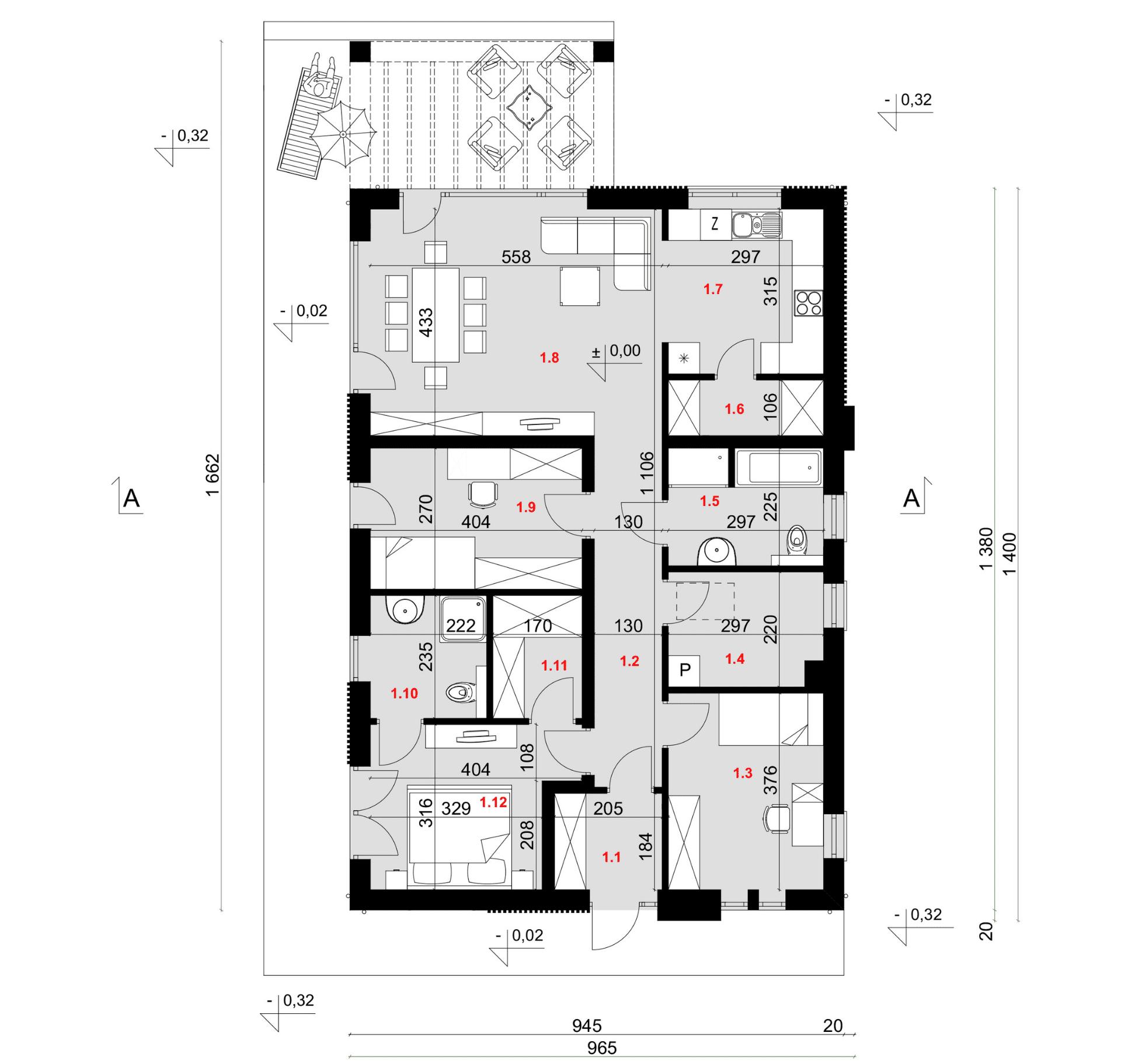 Rzut parteru - projekt domu SEJ-PRO 051 ENERGO