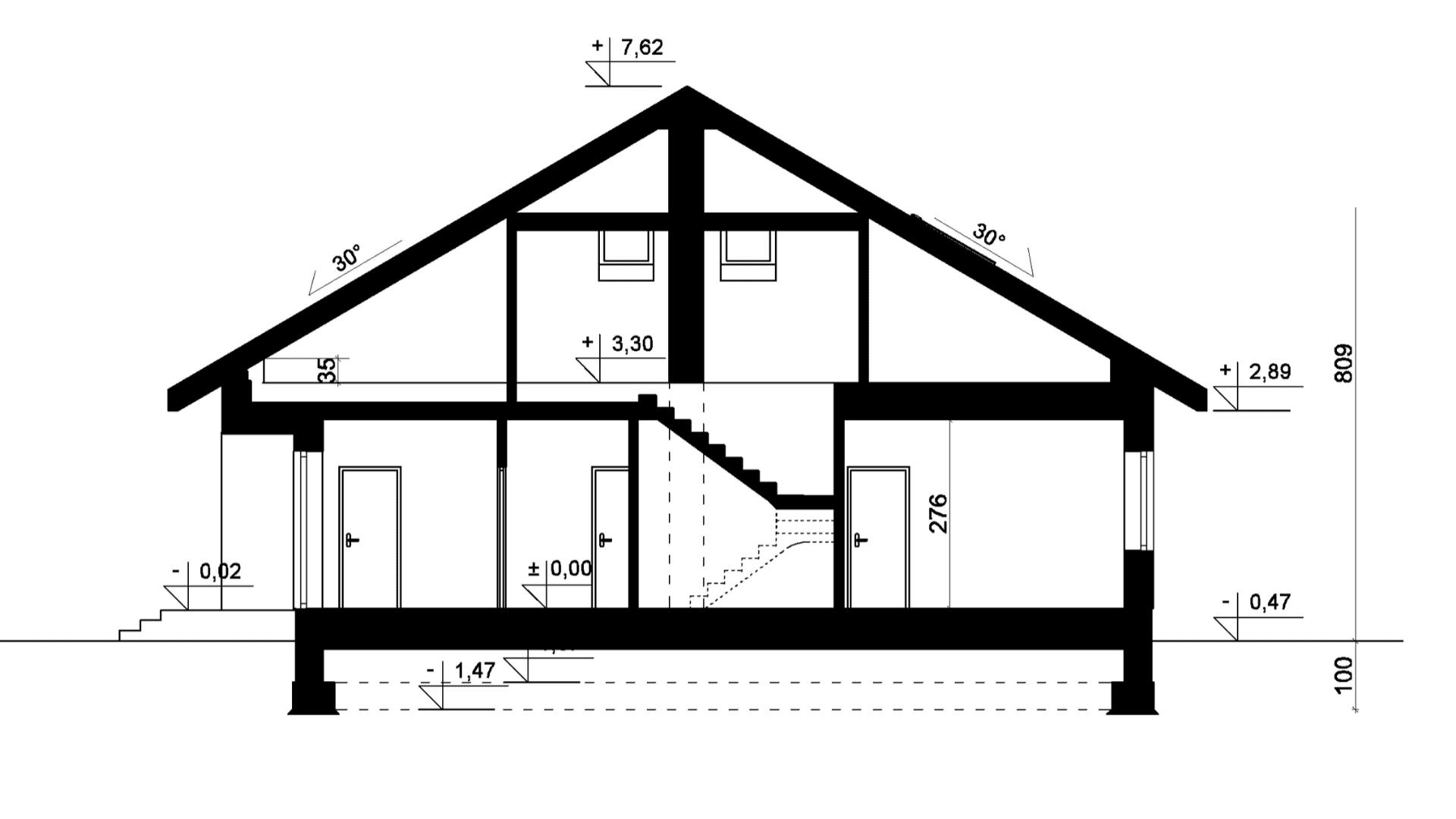 Przekrój A-A - projekt domu SEJ-PRO 006 ENERGO