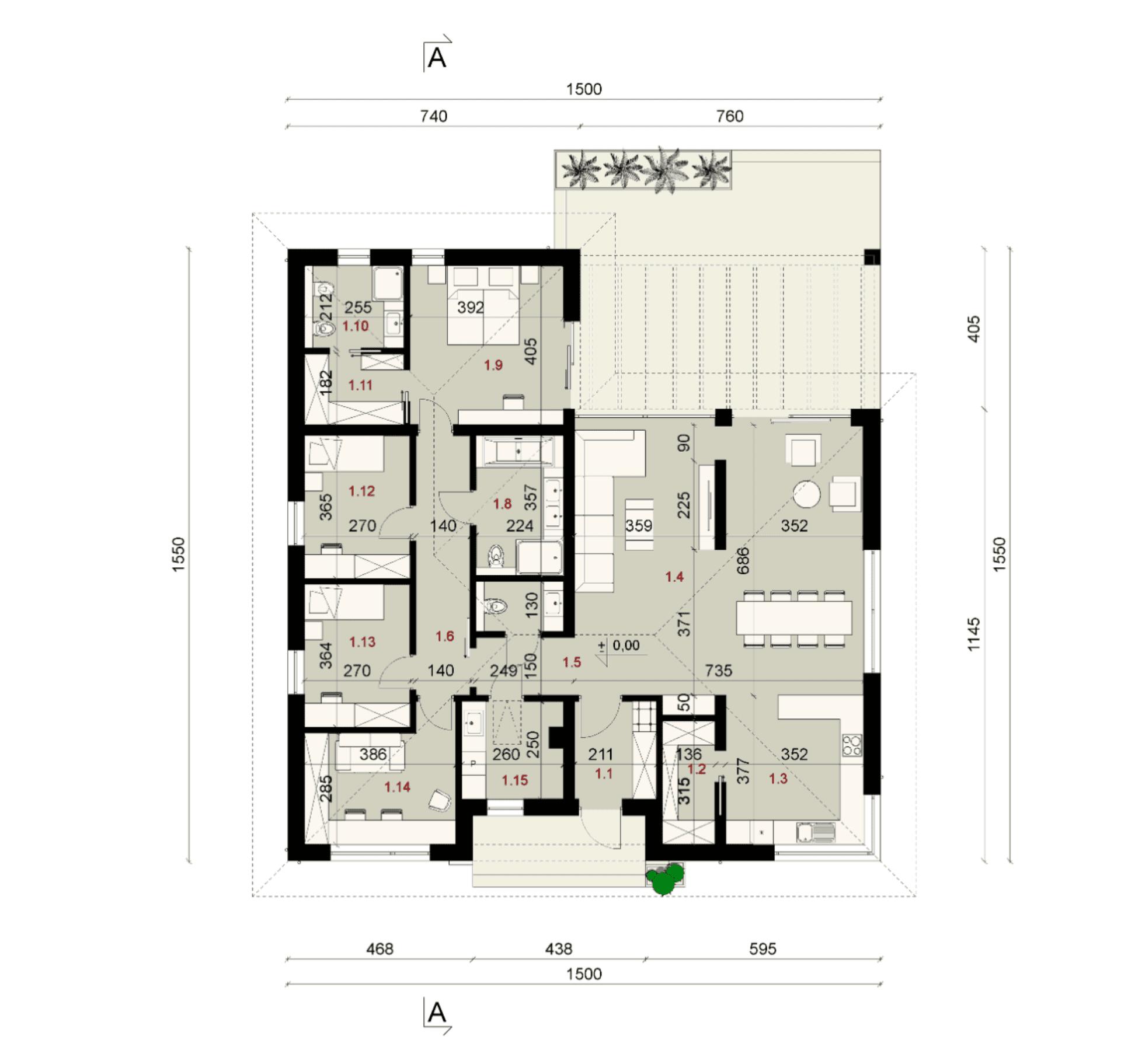 Rzut parteru - projekt domu SEJ-PRO 027 ENERGO