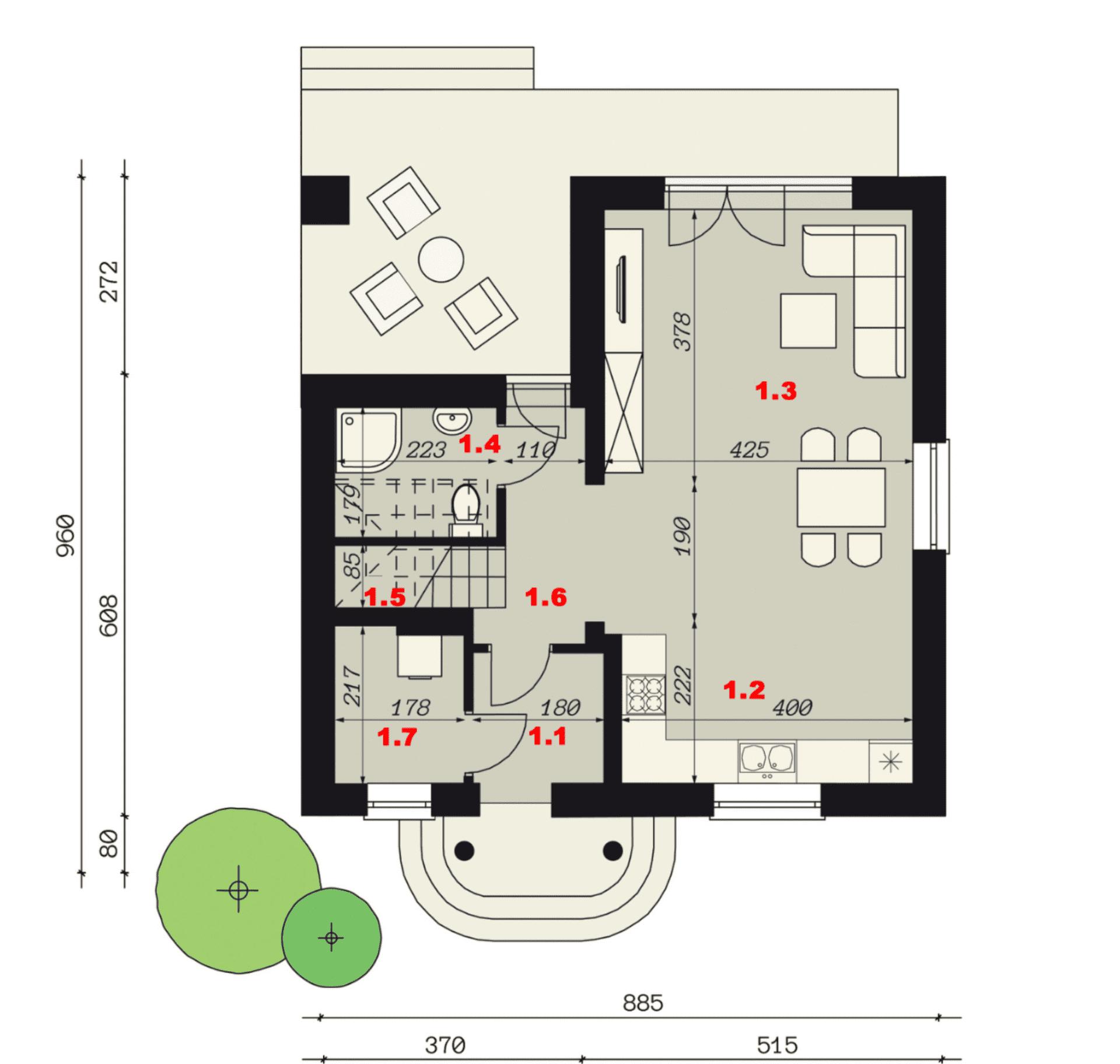 Rzut parteru - projekt domu SEJ-PRO 001 ENERGO