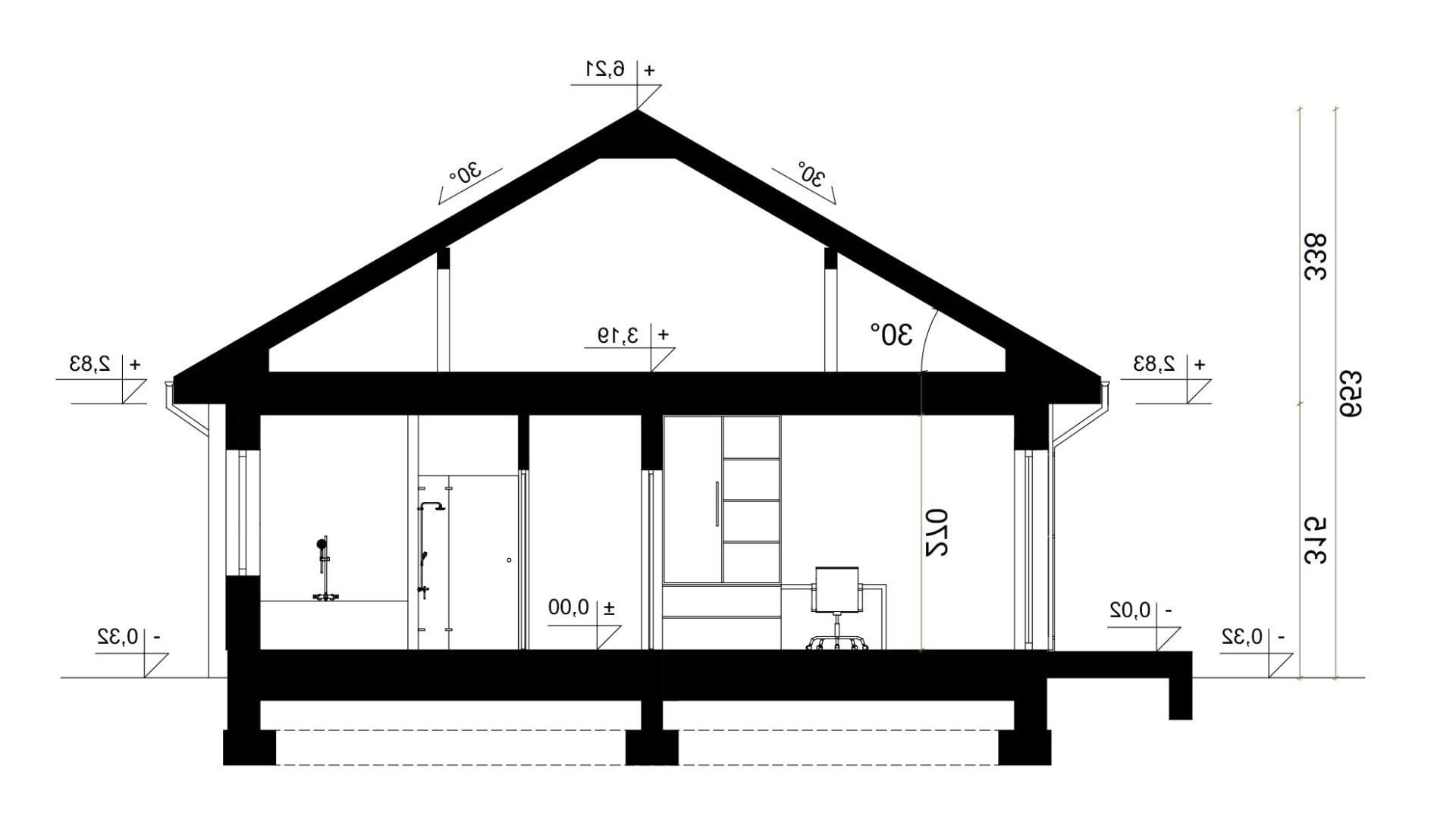 Przekrój A-A - projekt domu SEJ-PRO 051 ENERGO - odbicie lustrzane