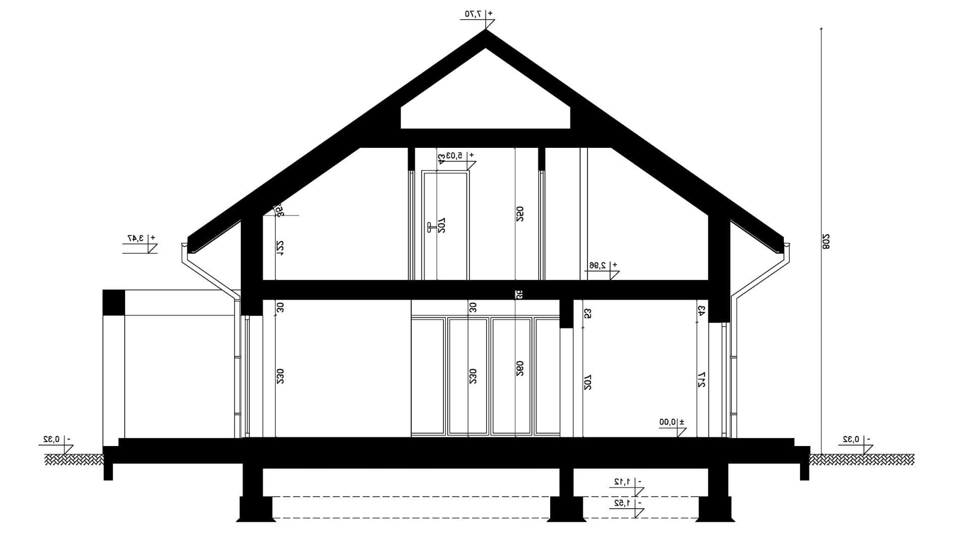 Przekrój A-A - projekt domu SEJ-PRO 047 ENERGO - odbicie lustrzane