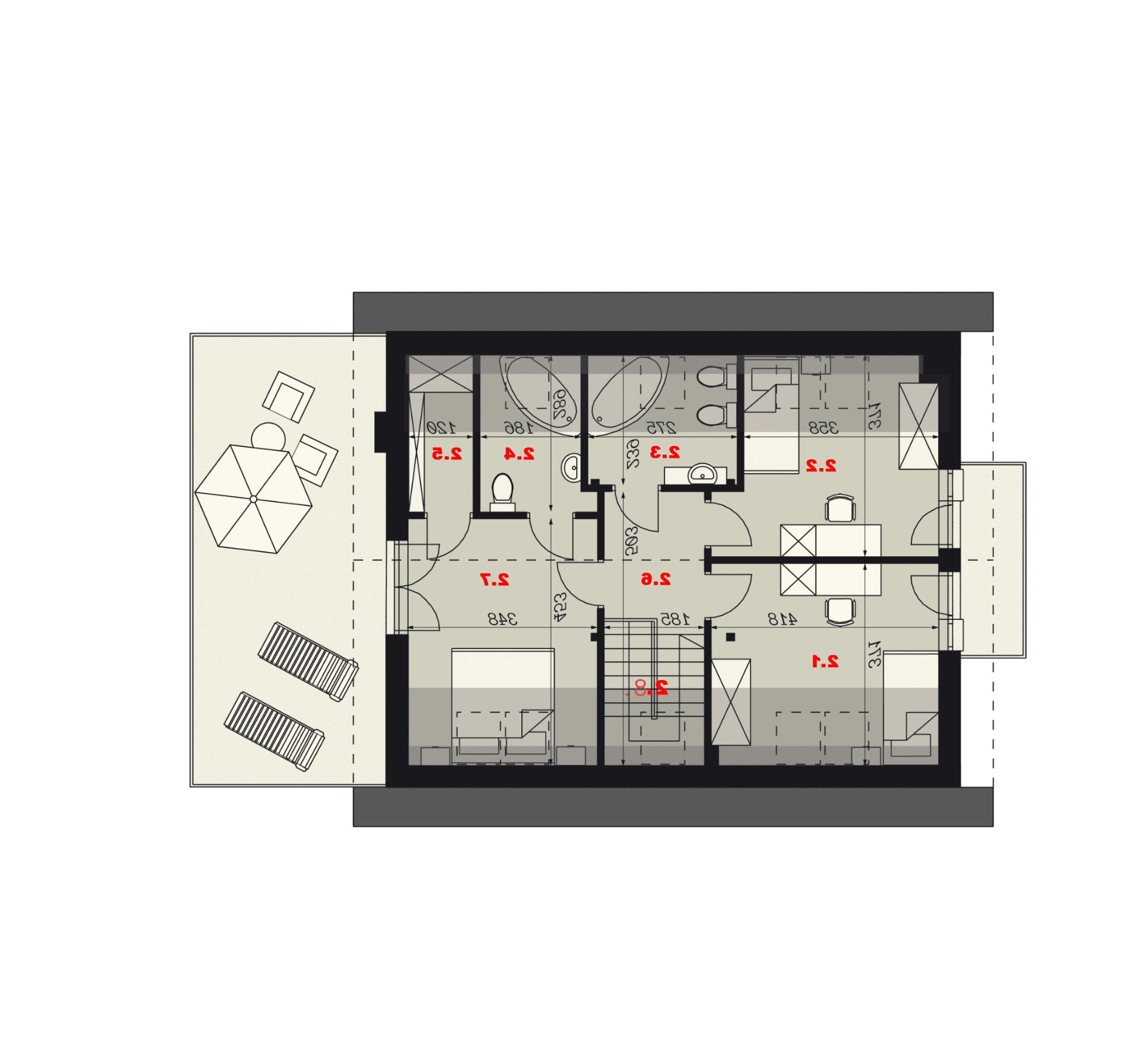 Rzut poddasza - projekt domu SEJ-PRO 003 ENERGO - odbicie lustrzane