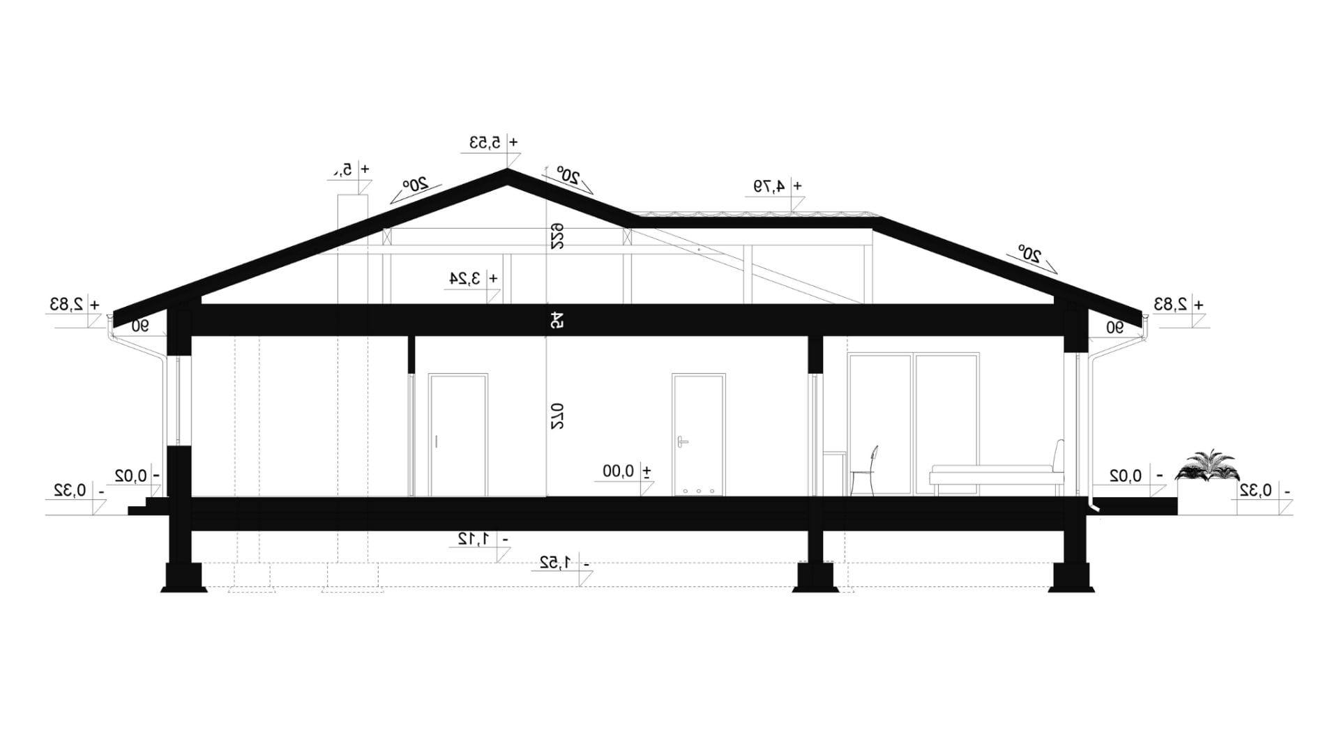 Przekrój A-A - projekt domu SEJ-PRO 027 ENERGO - odbicie lustrzane