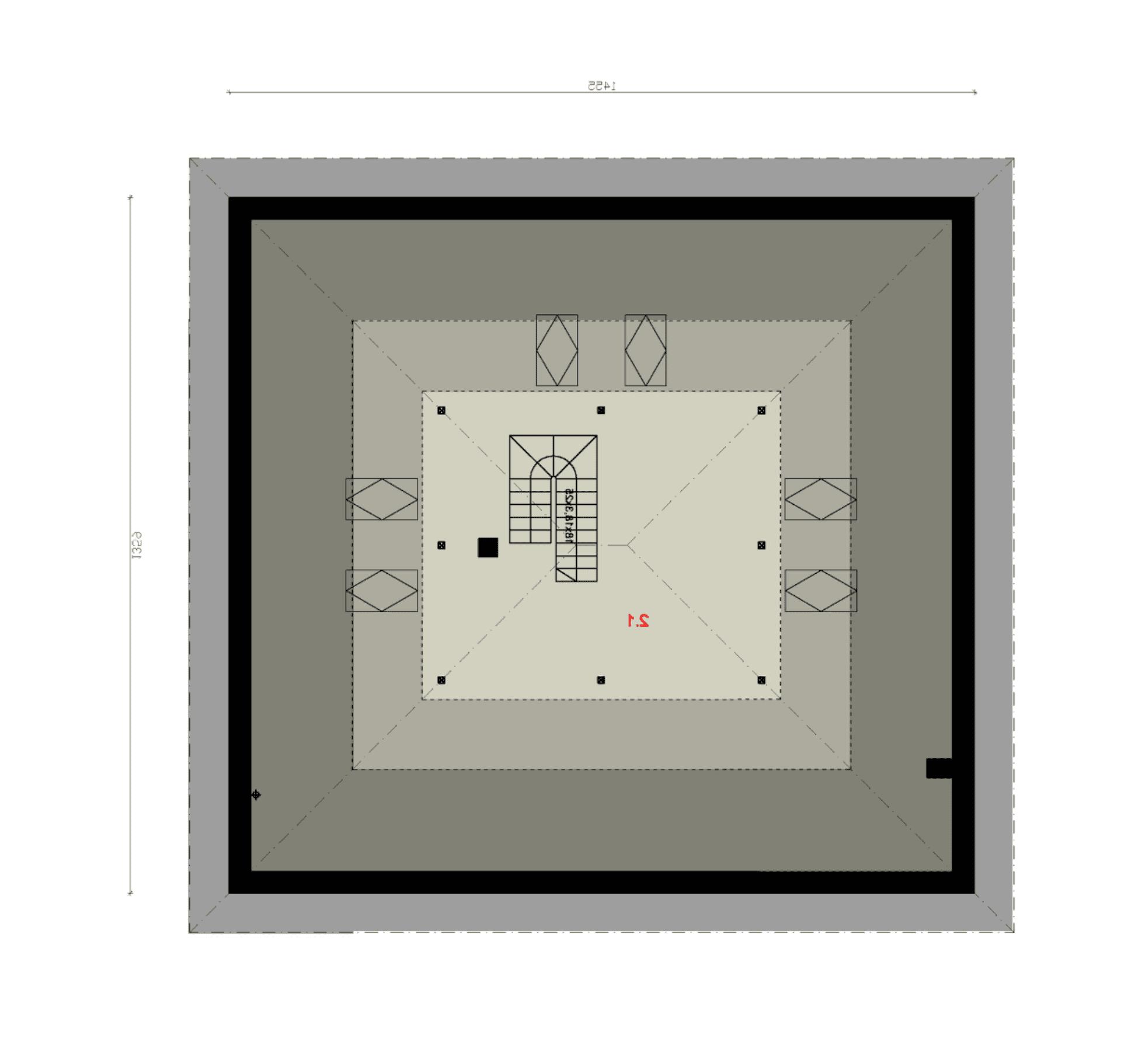 Rzut poddasza nieużytkowego - projekt domu SEJ-PRO 006 ENERGO - odbicie lustrzane