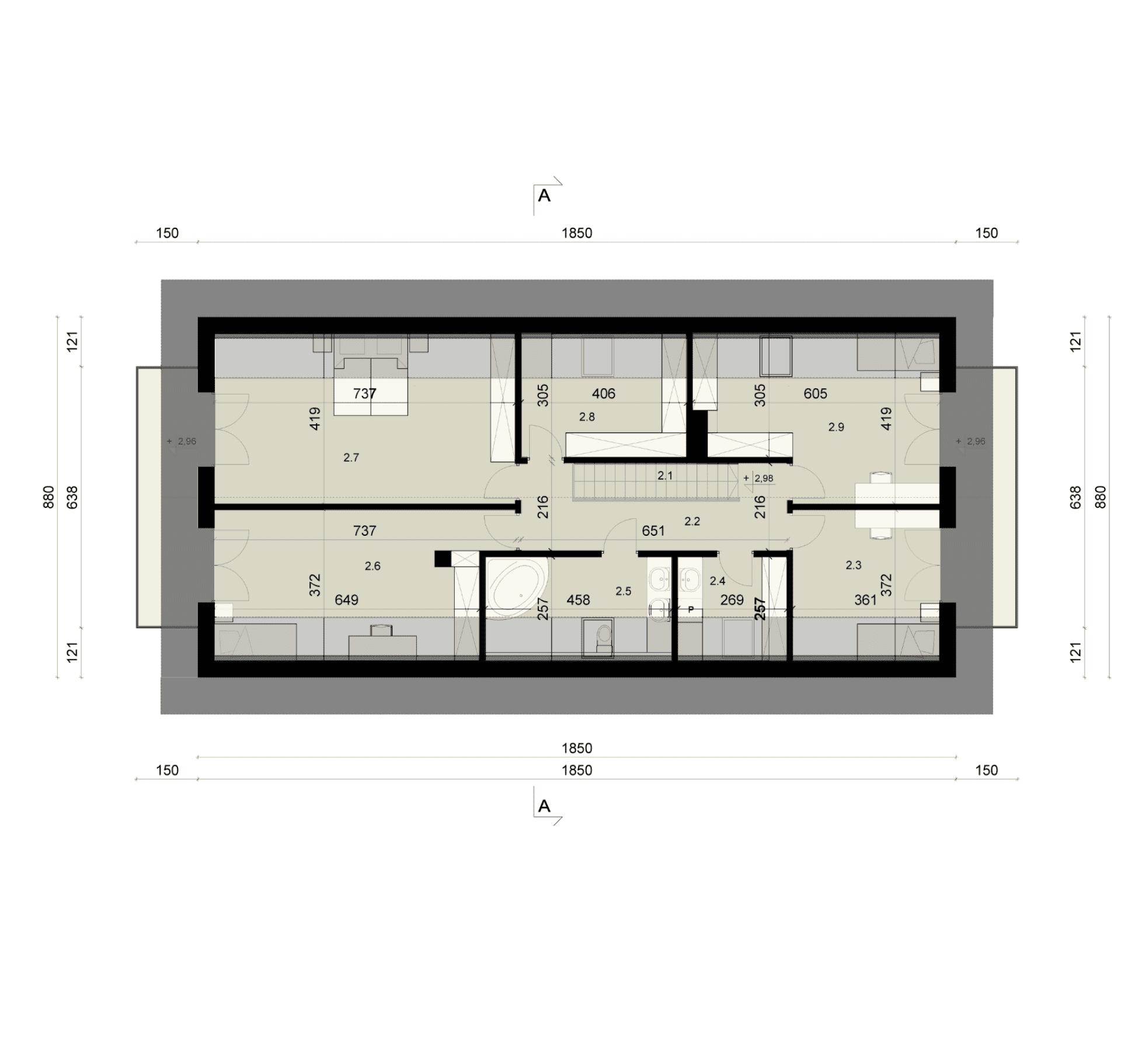 Rzut poddasza - projekt domu SEJ-PRO 018 ENERGO