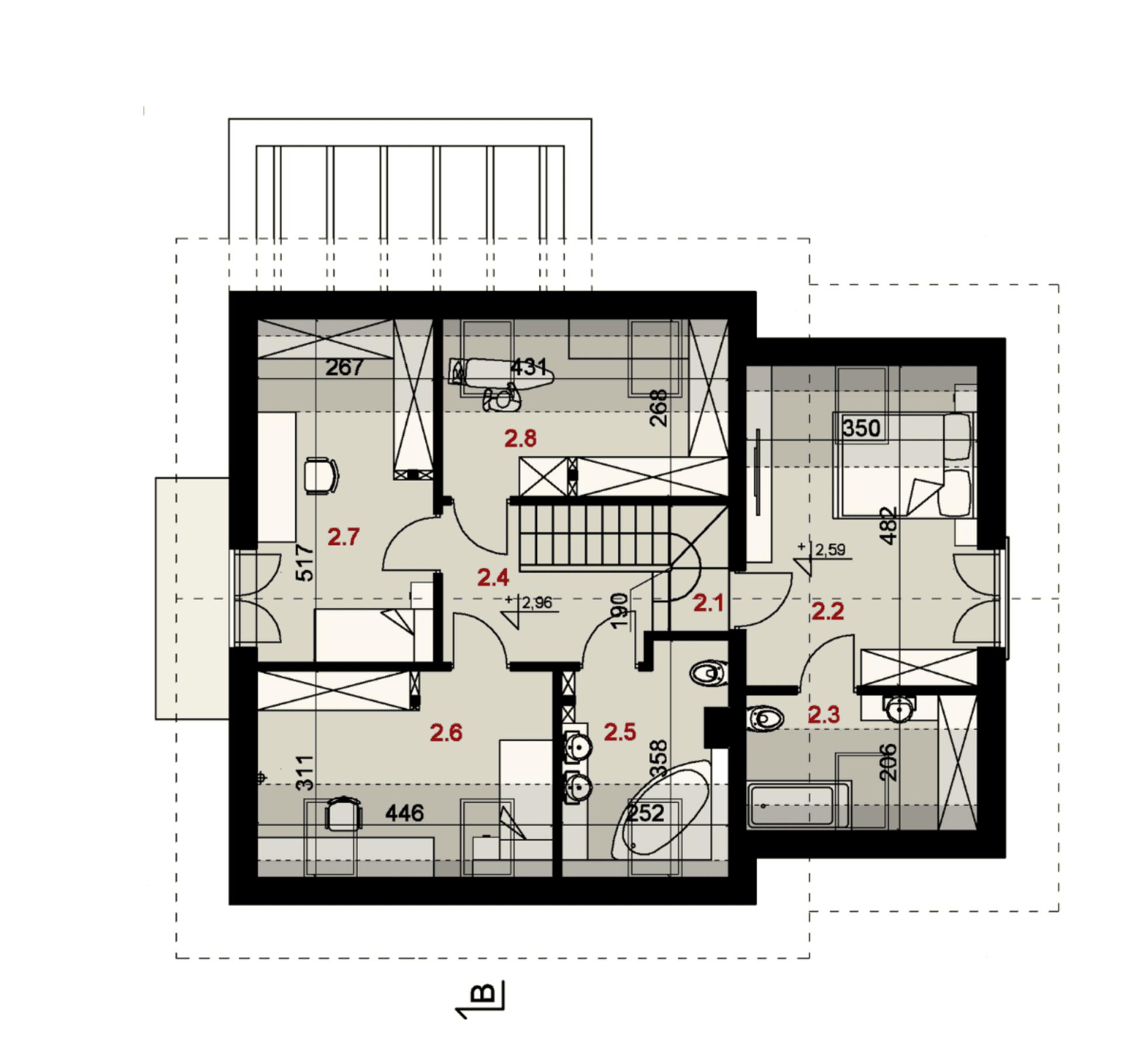 Rzut poddasza - projekt domu SEJ-PRO 047 ENERGO