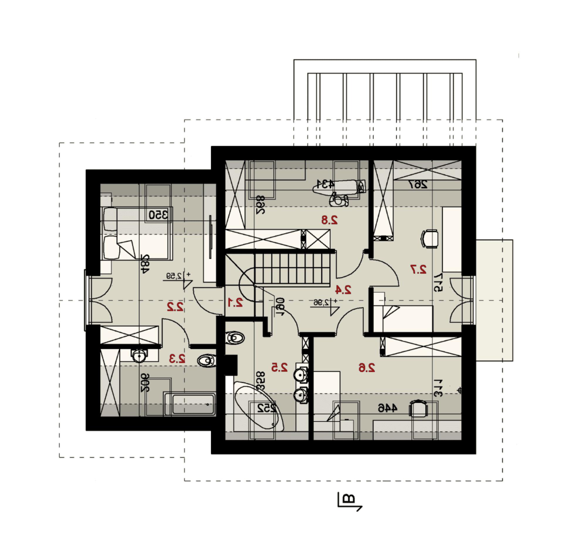 Rzut poddasza - projekt domu SEJ-PRO 047 ENERGO - odbicie lustrzane