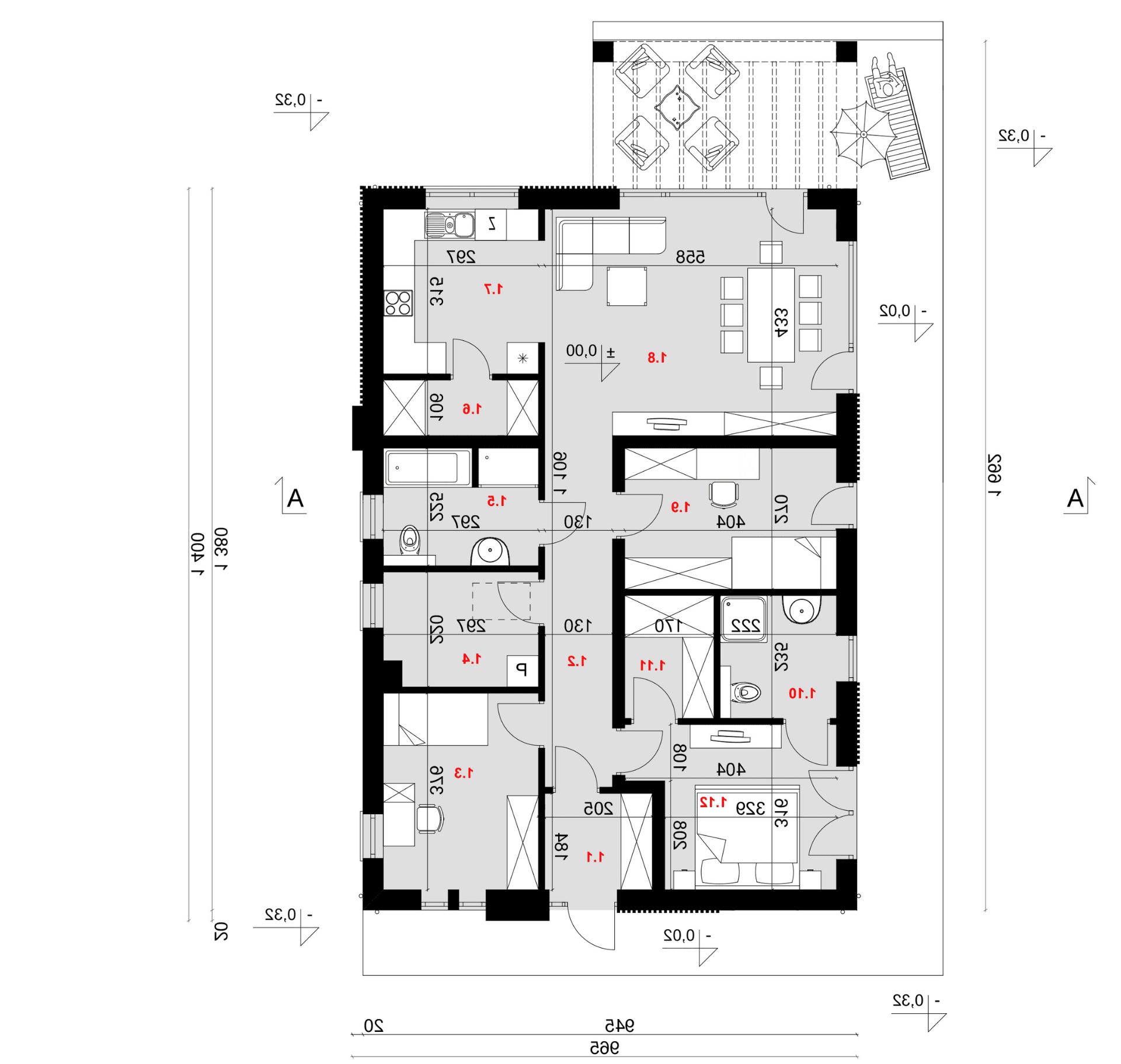Rzut parteru - projekt domu SEJ-PRO 051 ENERGO - odbicie lustrzane