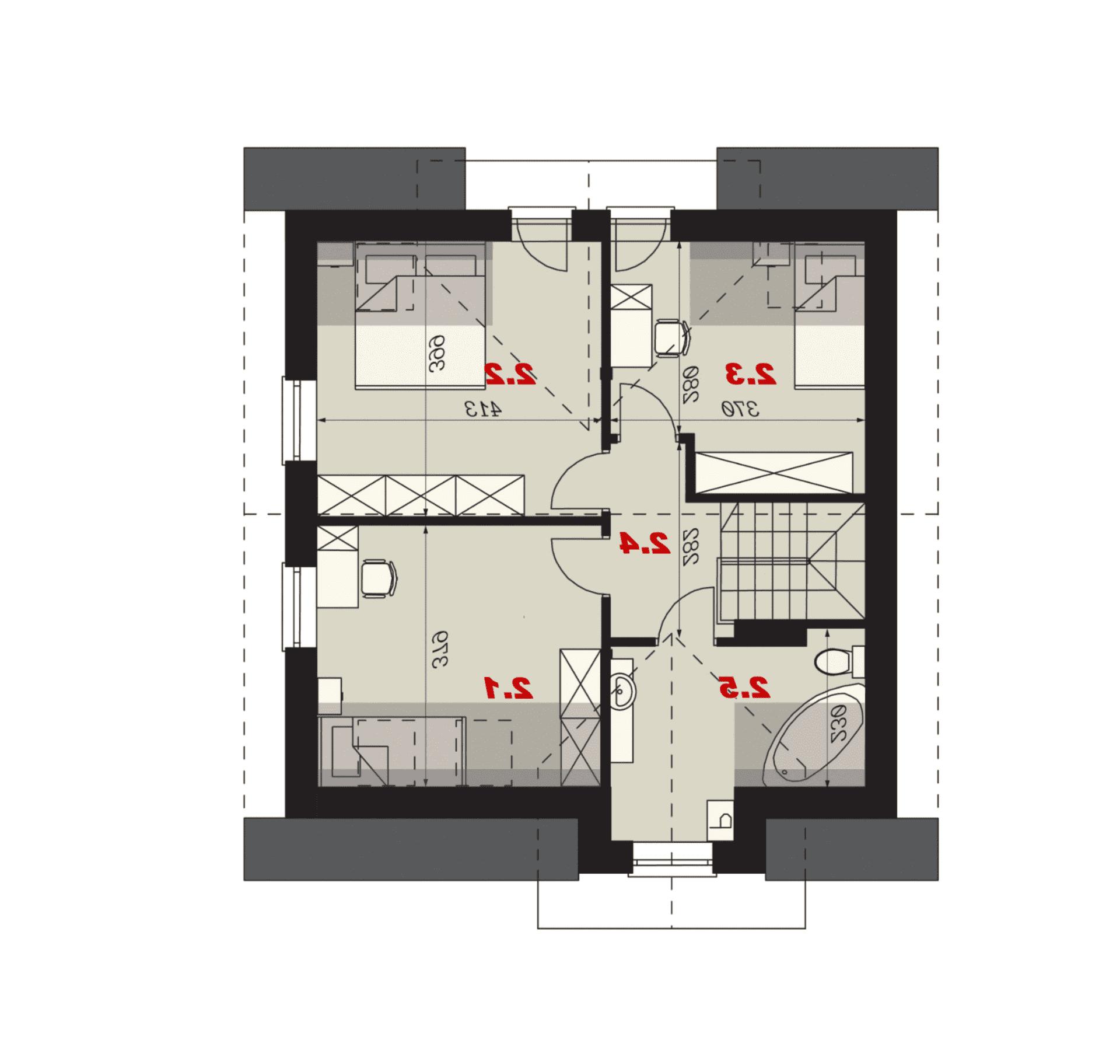 Rzut poddasza - projekt domu SEJ-PRO 001 ENERGO - odbicie lustrzane