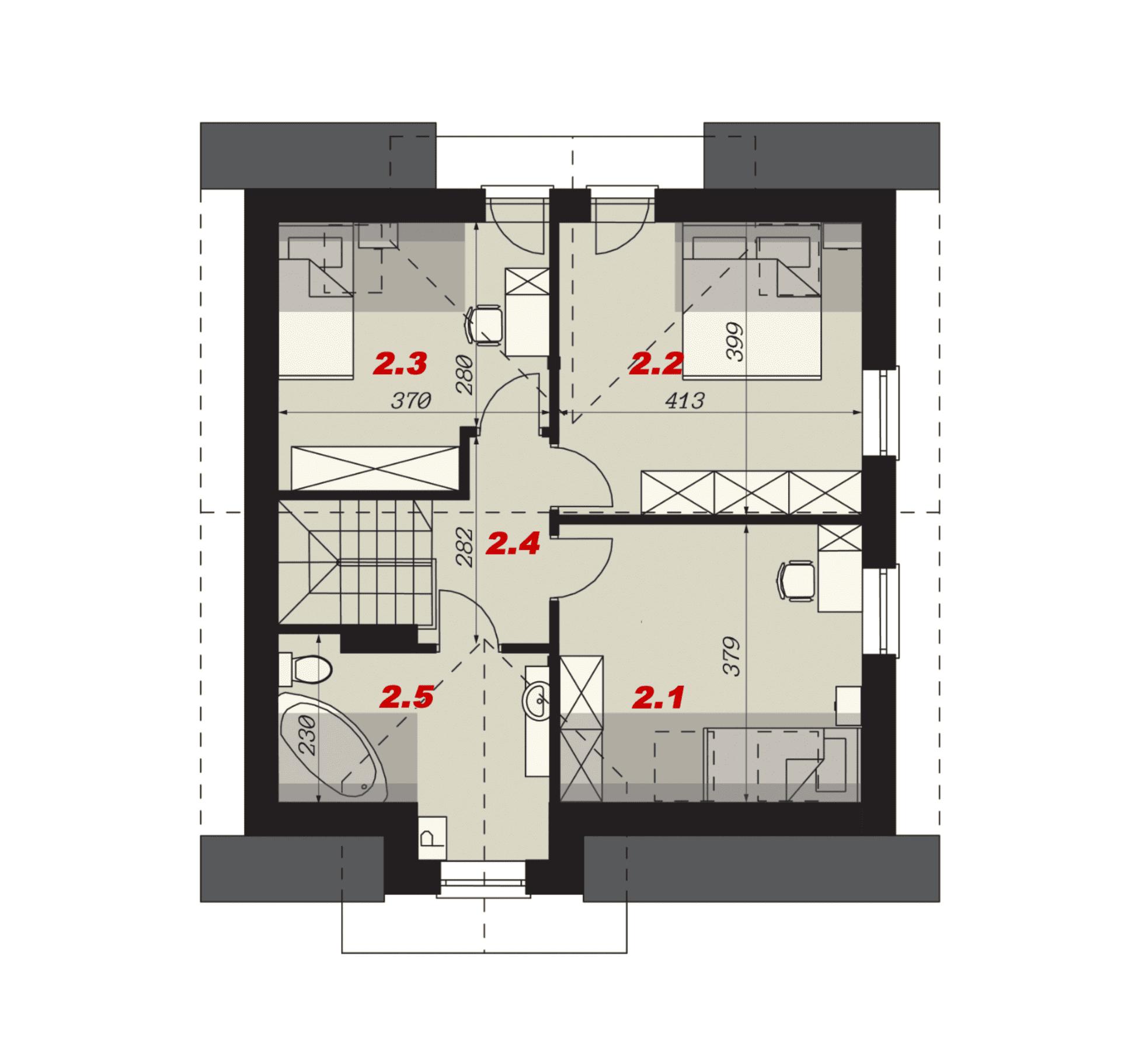 Rzut poddasza - projekt domu SEJ-PRO 001 ENERGO