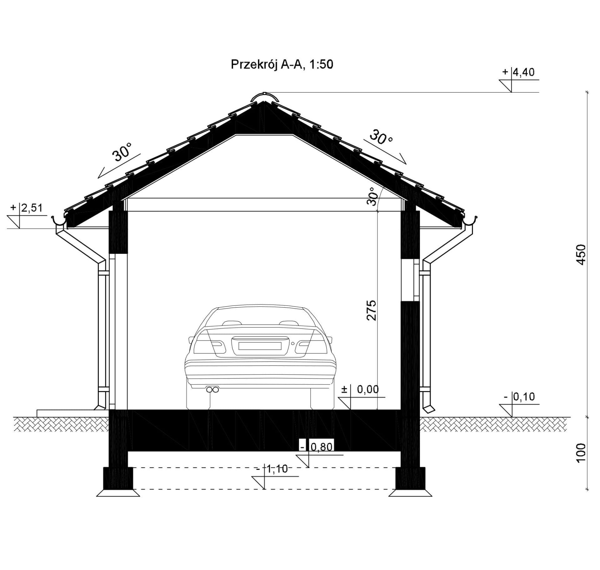 Przekrój - inny projekt Garaż SEJ-PRO G001