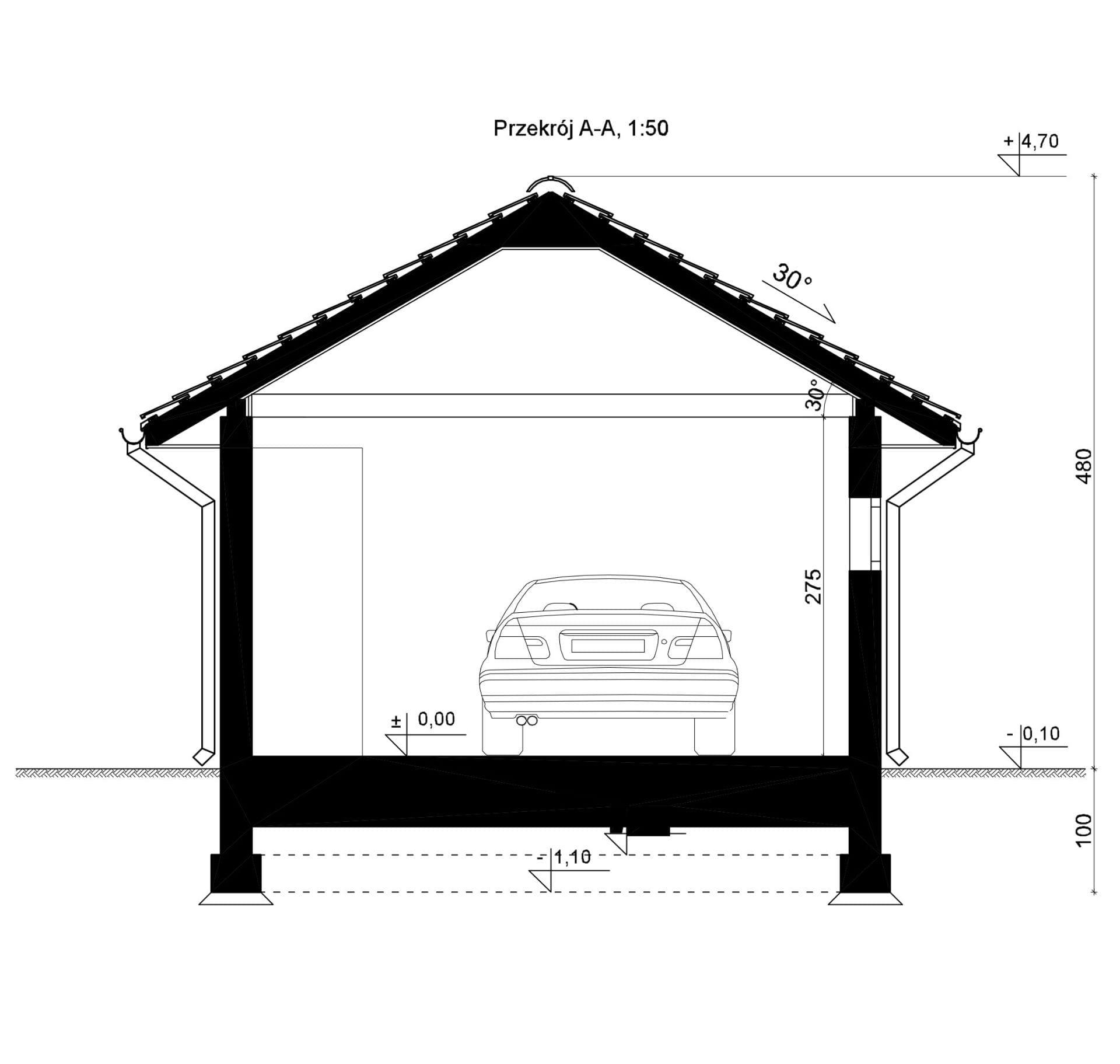 Przekrój - inny projekt Garaż SEJ-PRO G002