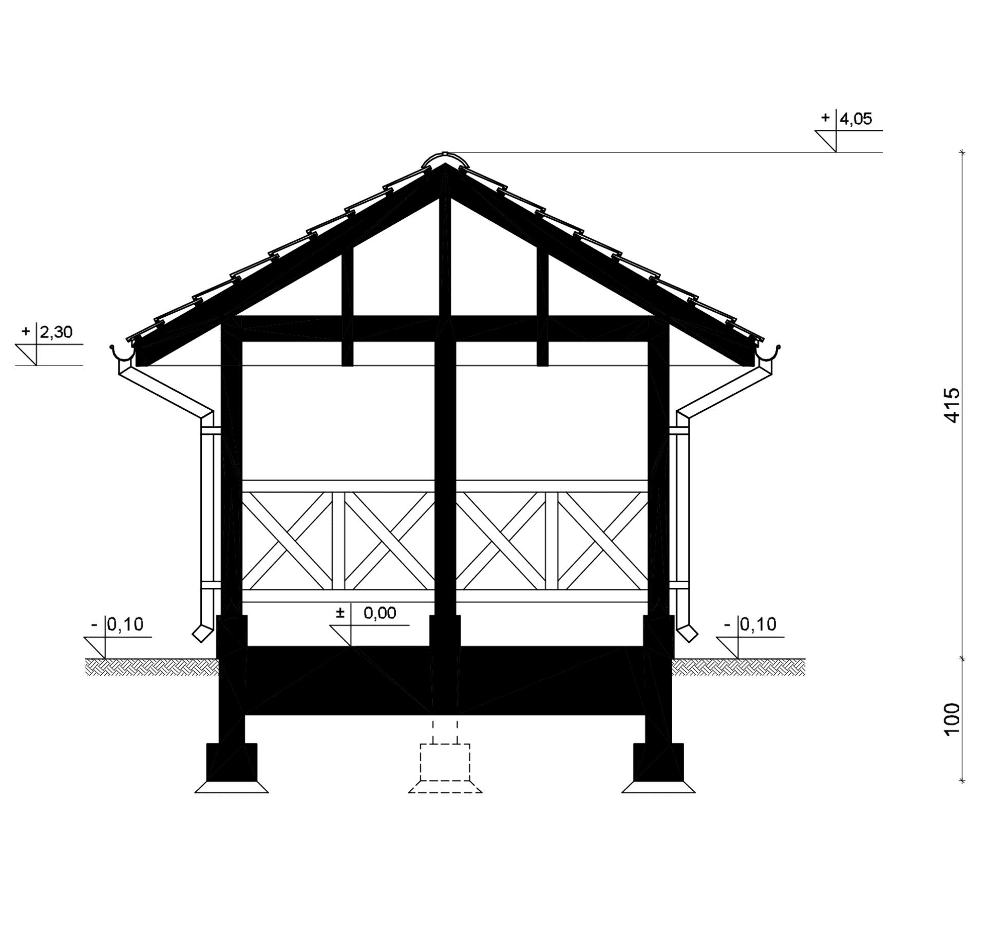 Przekrój A-A - inny projekt Altana ogrodowa SEJ-PRO A001