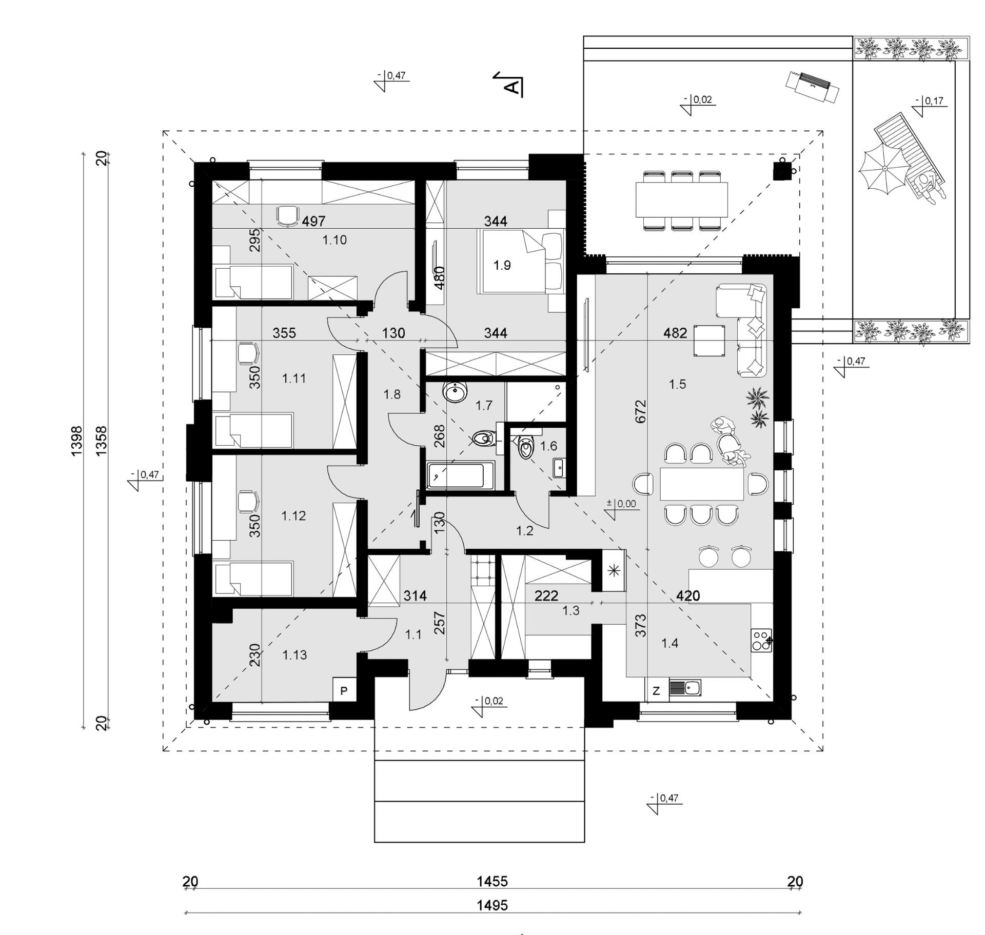 Rzut parteru - projekt domu SEJ-PRO 071 ENERGO