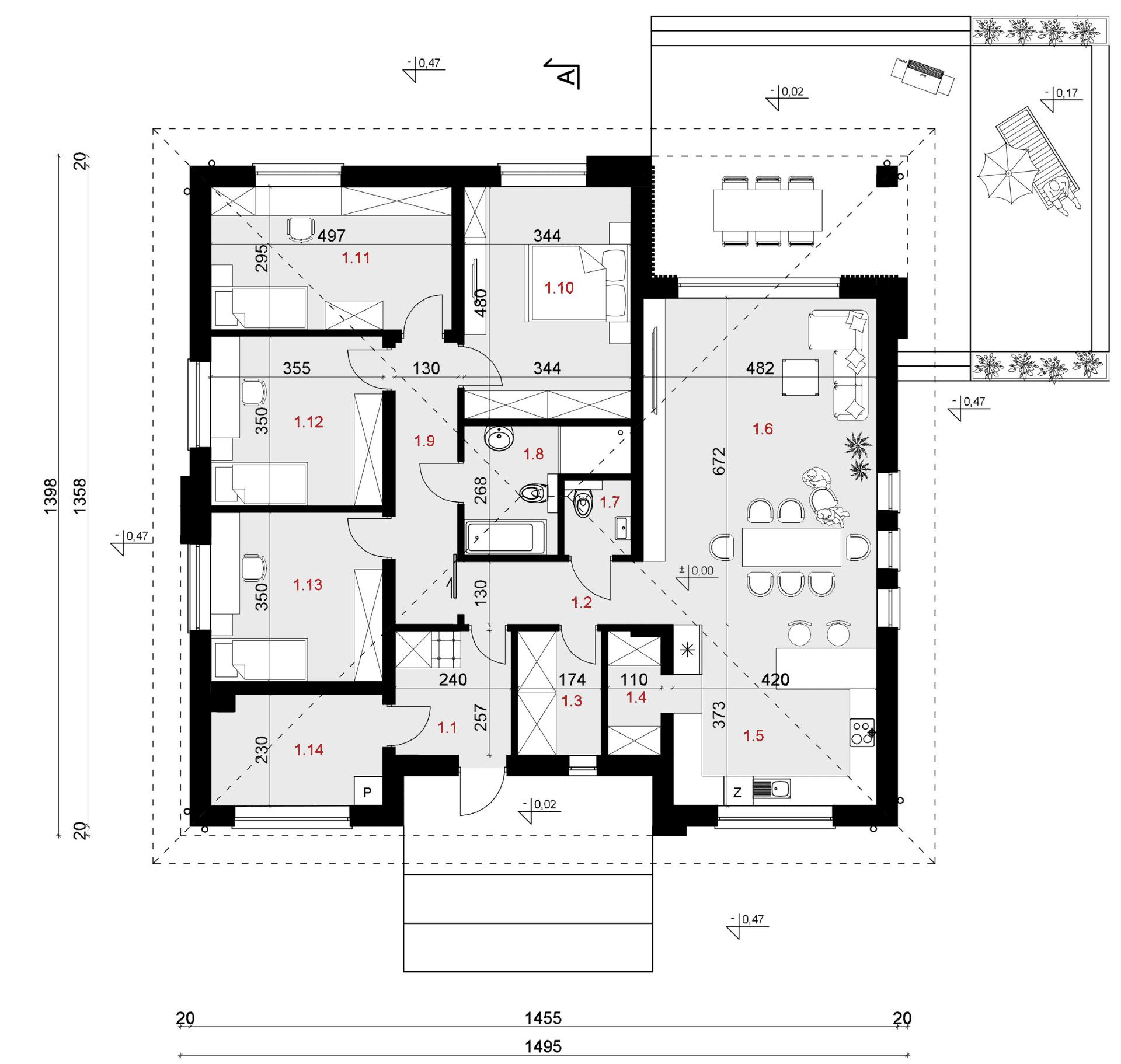 Rzut parteru - projekt domu SEJ-PRO 071/1 ENERGO