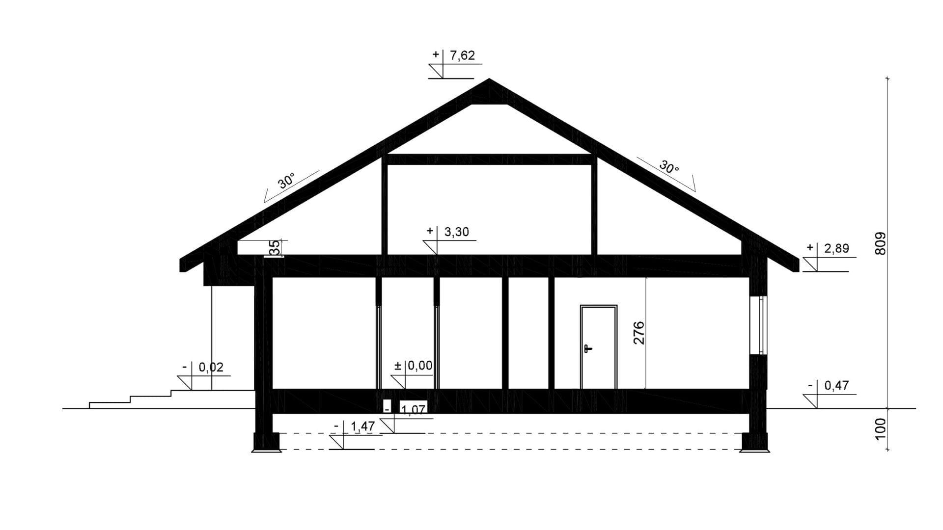 Przekrój A-A - projekt domu SEJ-PRO 071 ENERGO