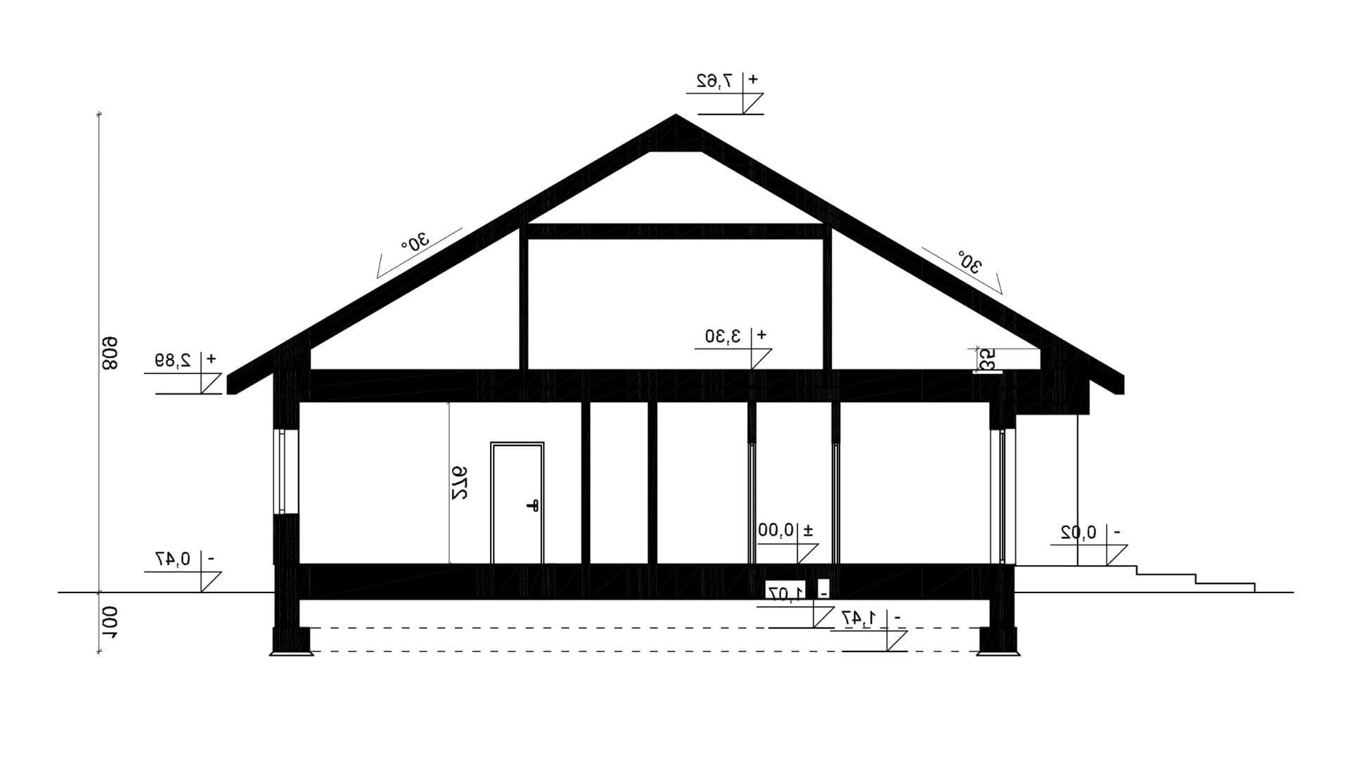 Przekrój A-A - projekt domu SEJ-PRO 071/1 ENERGO - odbicie lustrzane