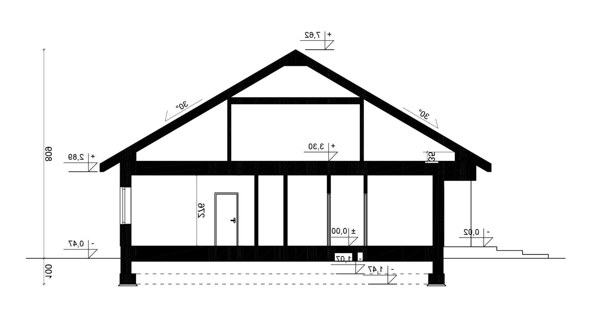 Przekrój A-A - projekt domu SEJ-PRO 071 ENERGO - odbicie lustrzane
