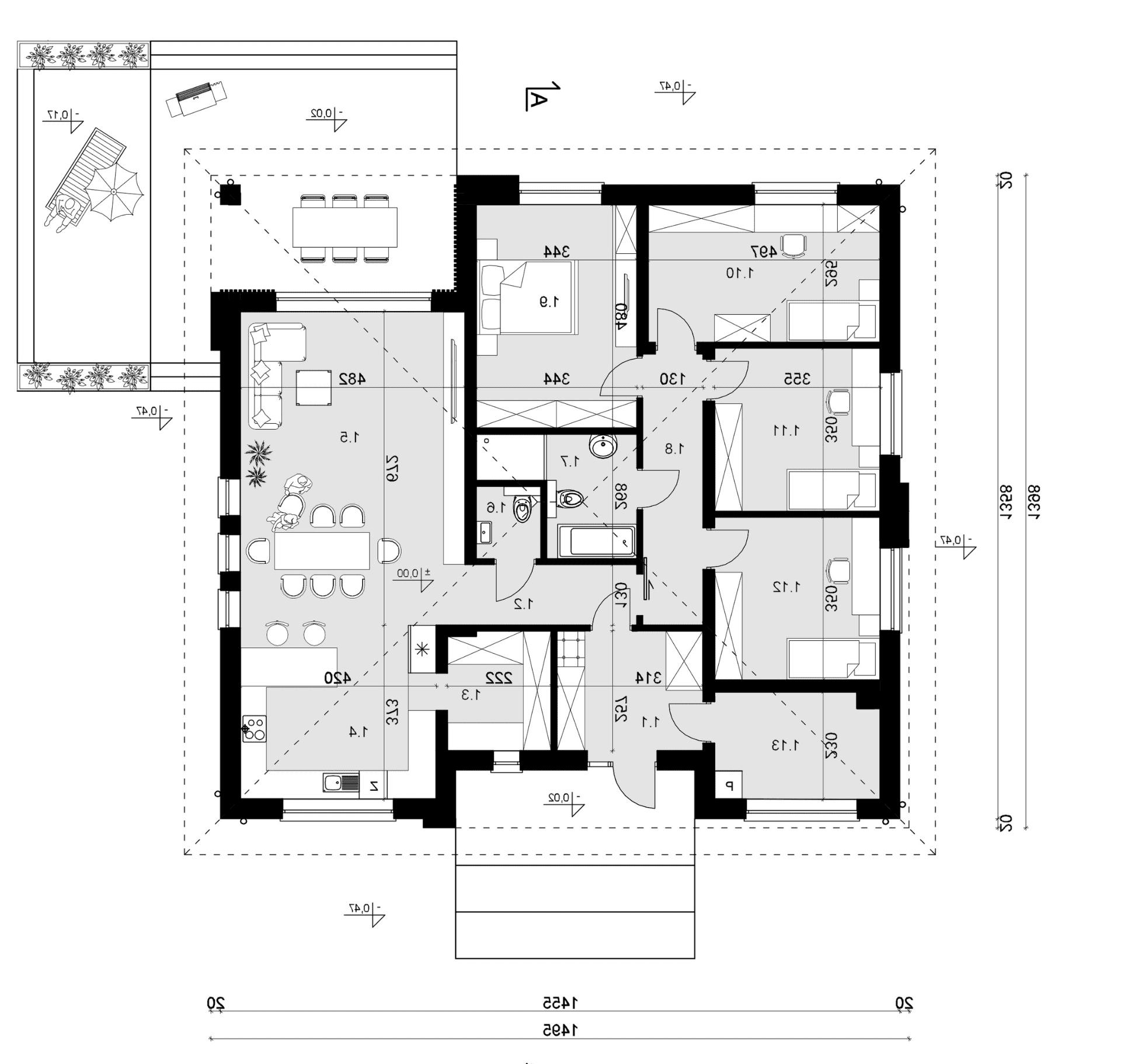Rzut parteru - projekt domu SEJ-PRO 071 ENERGO - odbicie lustrzane