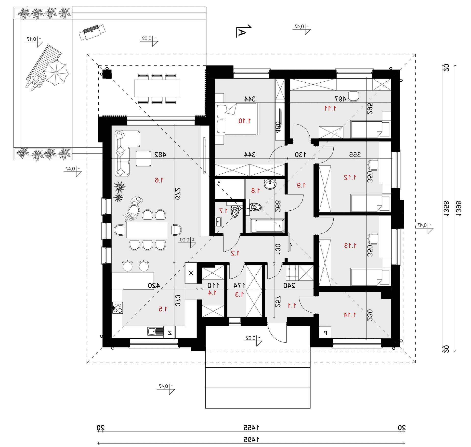 Rzut parteru - projekt domu SEJ-PRO 071/1 ENERGO - odbicie lustrzane