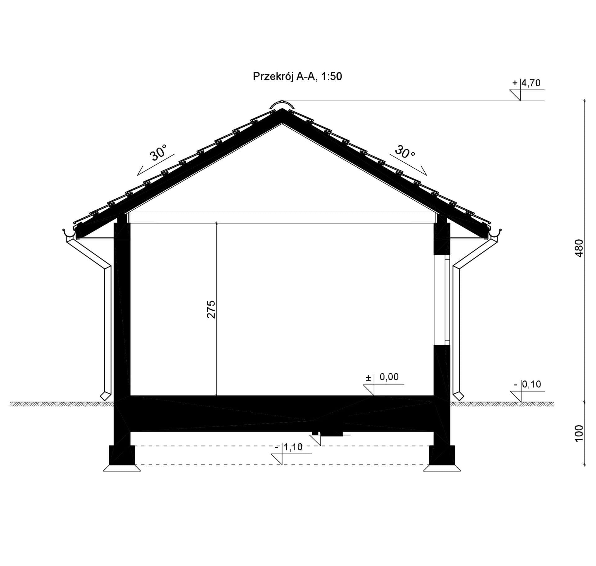 Przekrój - inny projekt Budynek gospodarczy SEJ-PRO B001