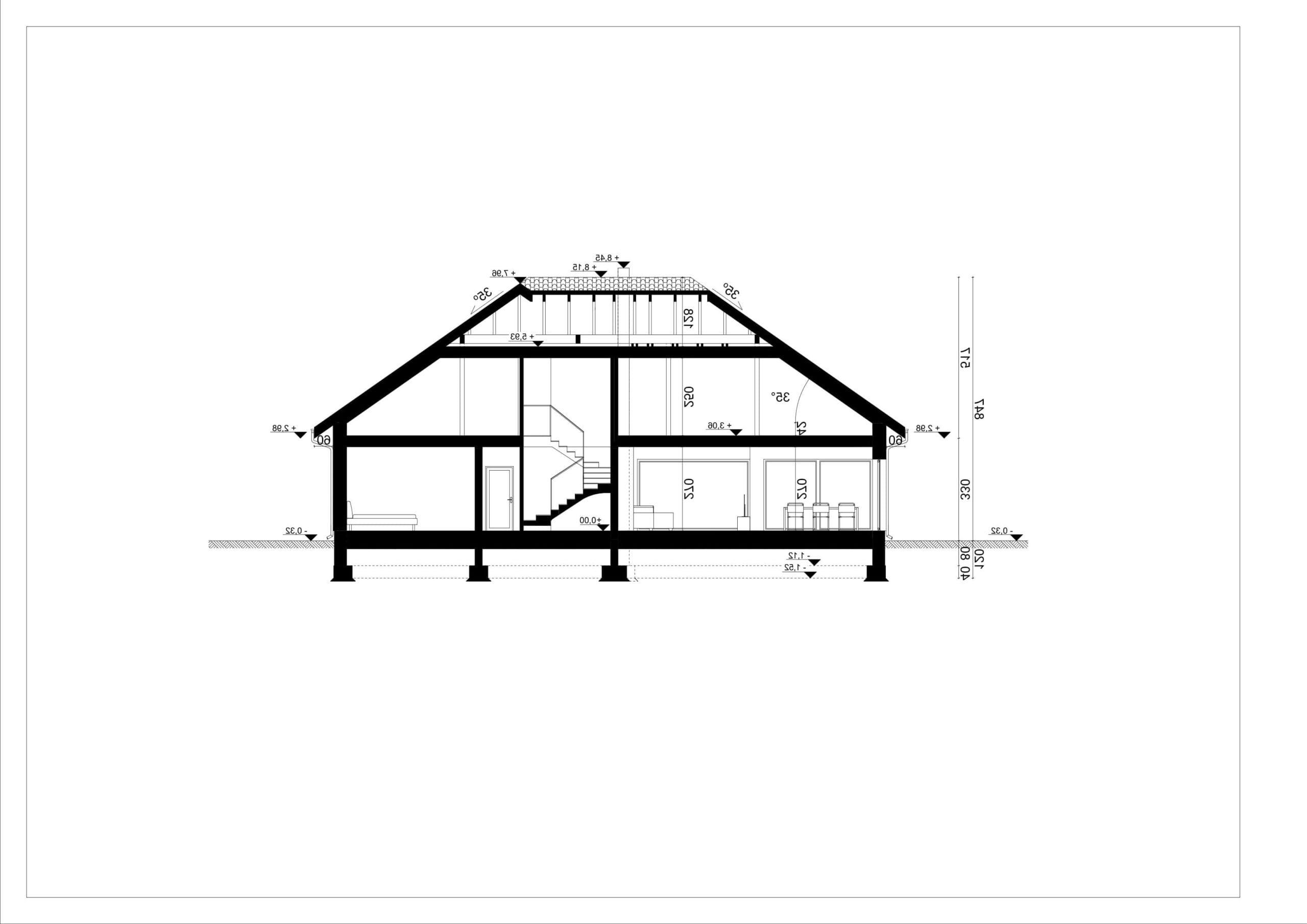 PRZEKRÓJ A-A - projekt domu SEJ-PRO 086 ENERGO - odbicie lustrzane