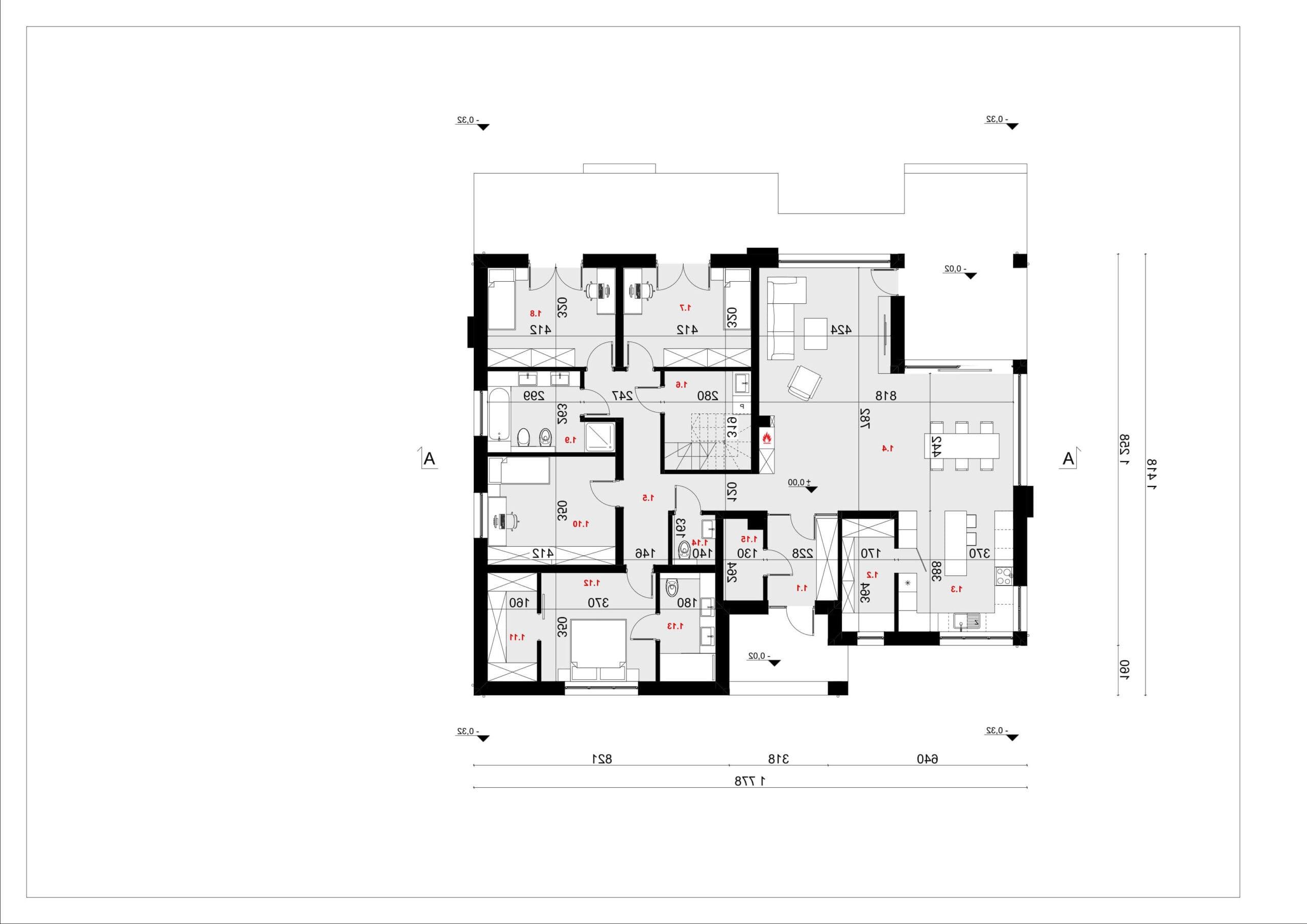 RZUT PARTERU - projekt domu SEJ-PRO 086 ENERGO - odbicie lustrzane