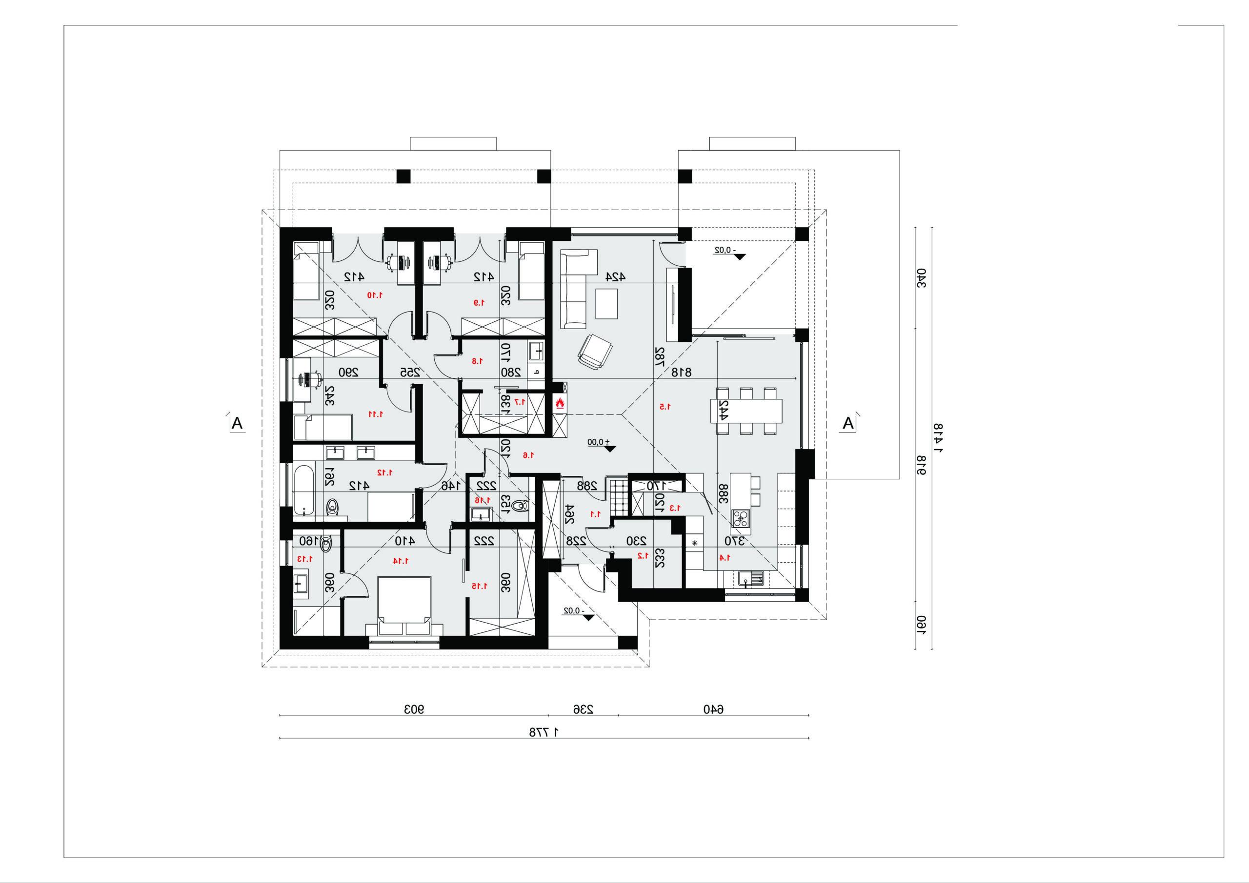 RZUT PARTERU - projekt domu SEJ-PRO 087 ENERGO - odbicie lustrzane
