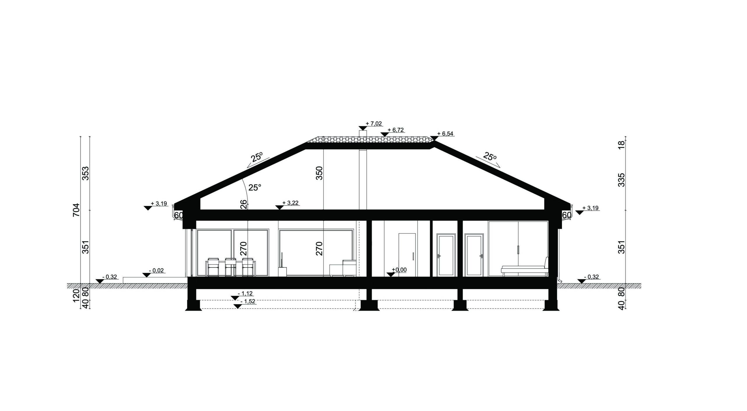 PRZEKRÓJ A-A - projekt domu SEJ-PRO 087 ENERGO
