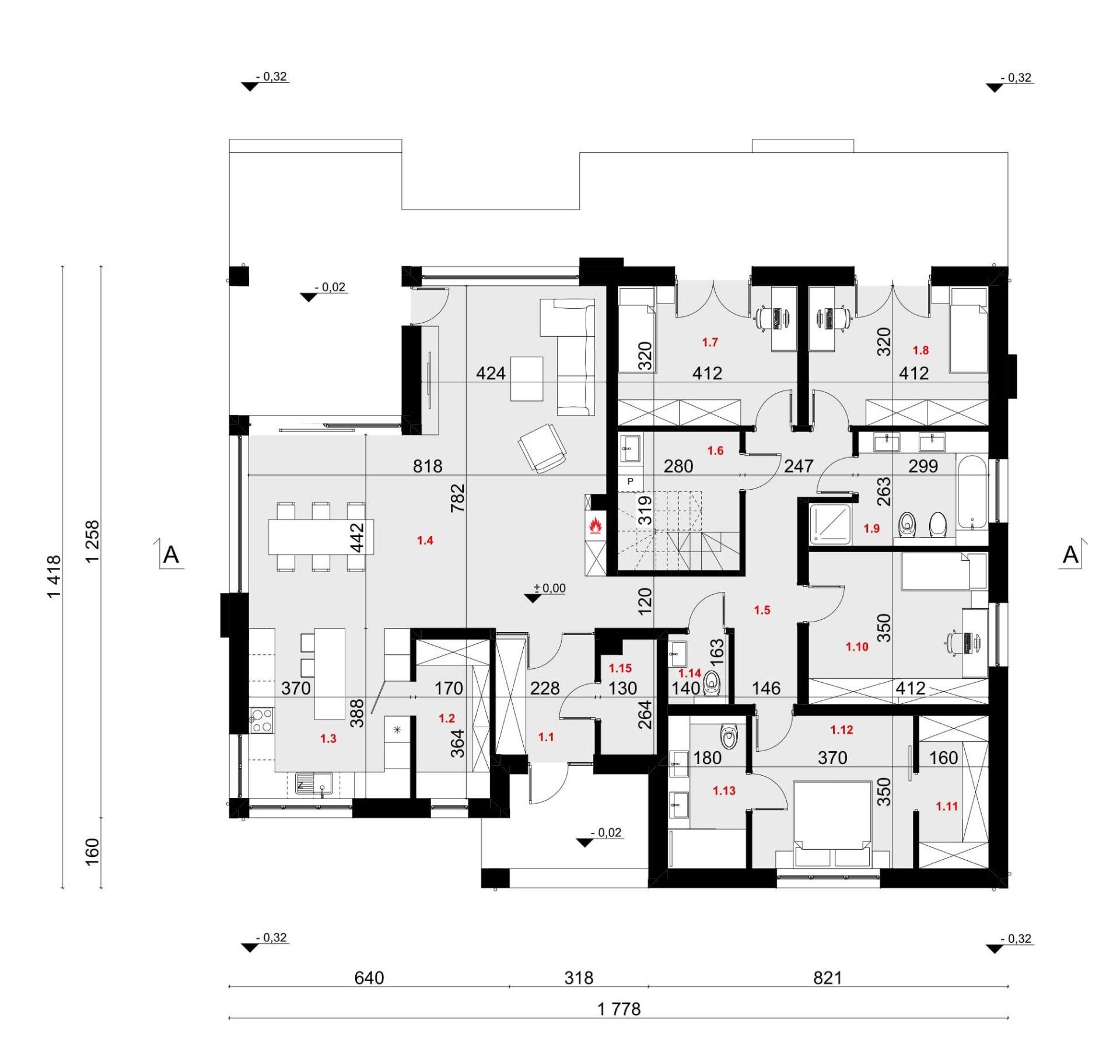 RZUT PARTERU - projekt domu SEJ-PRO 086 ENERGO