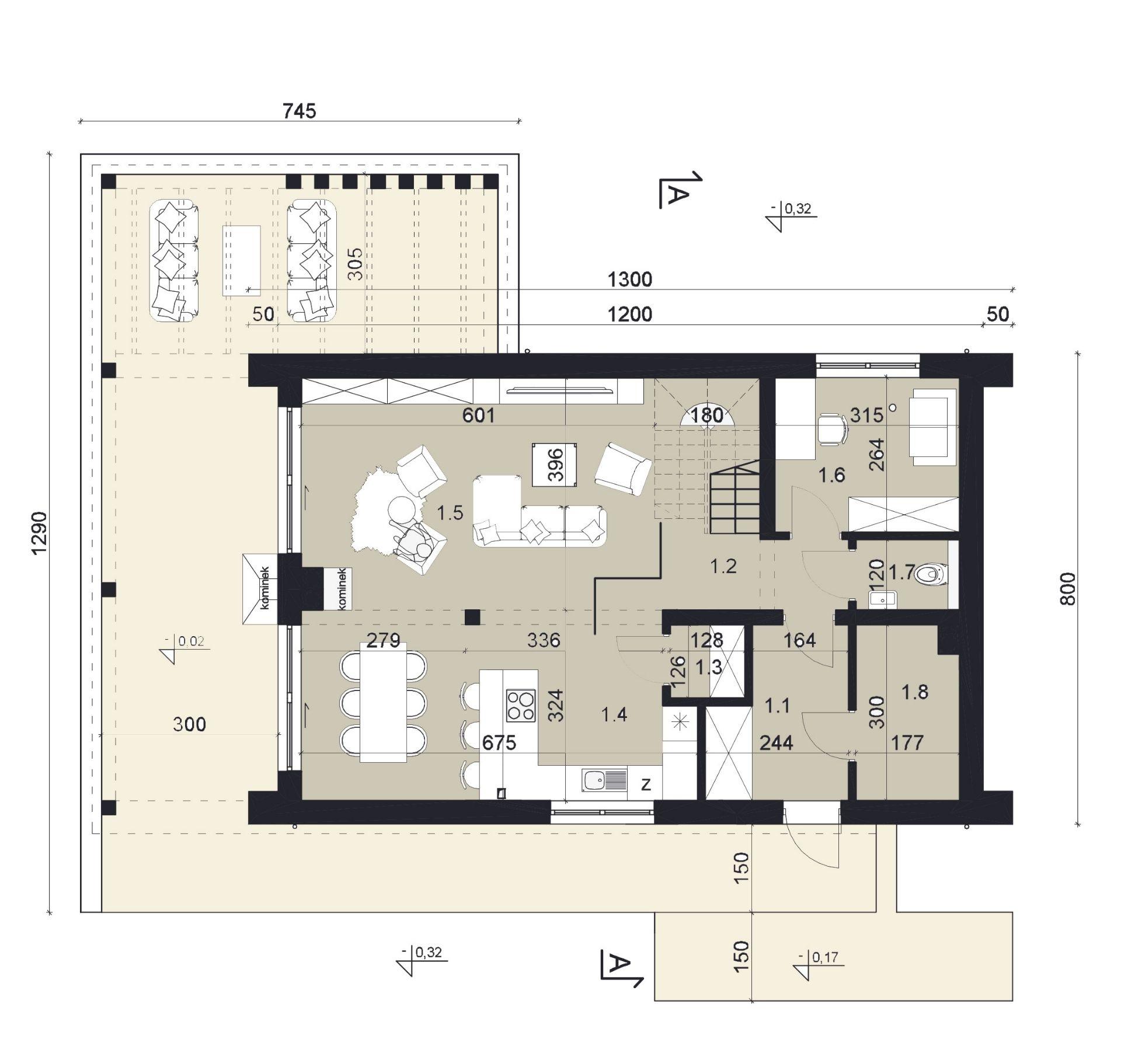 RZUT PARTERU - projekt domu SEJ-PRO 074 ENERGO