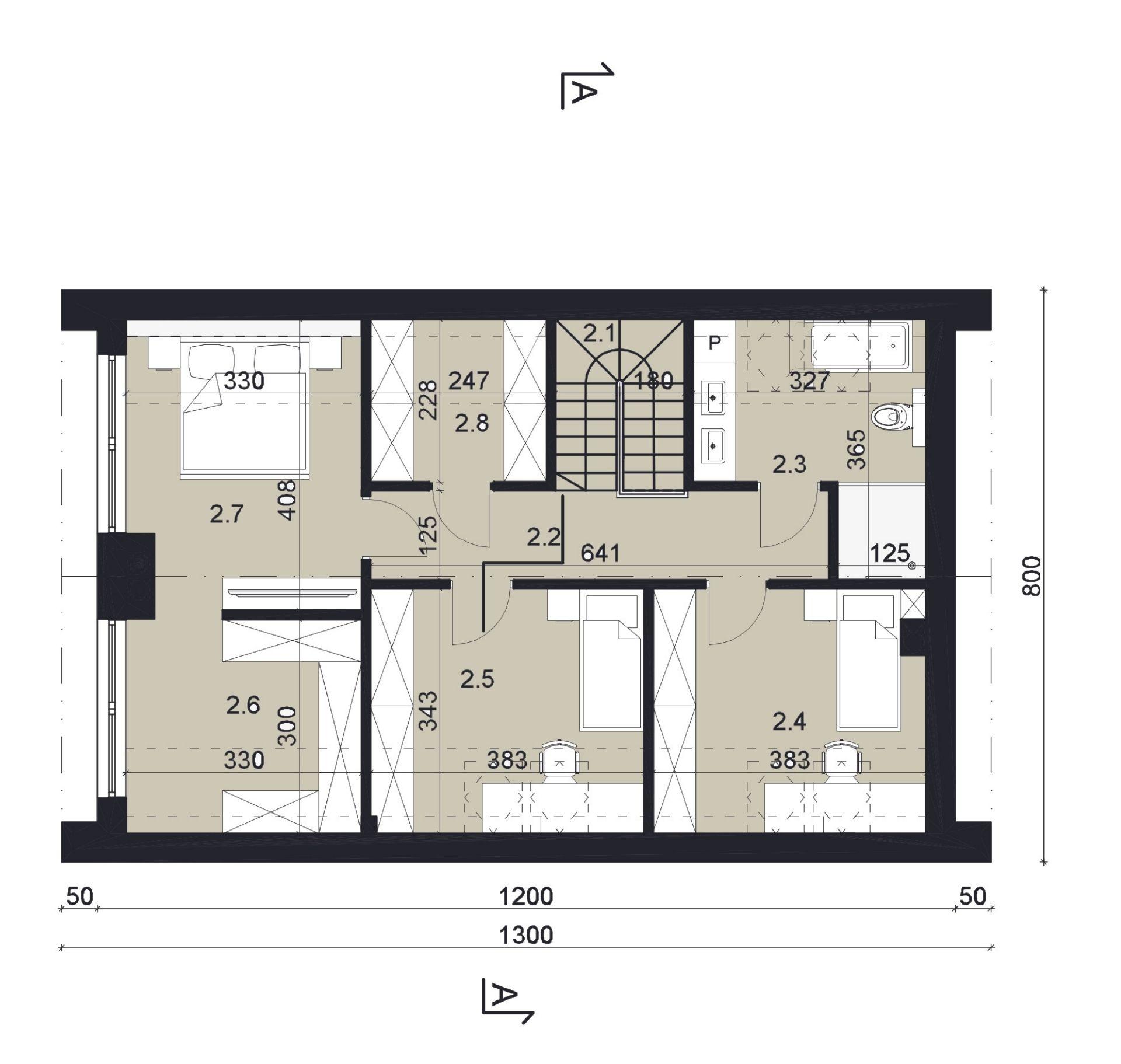 RZUT PODDASZA - projekt domu SEJ-PRO 074 ENERGO