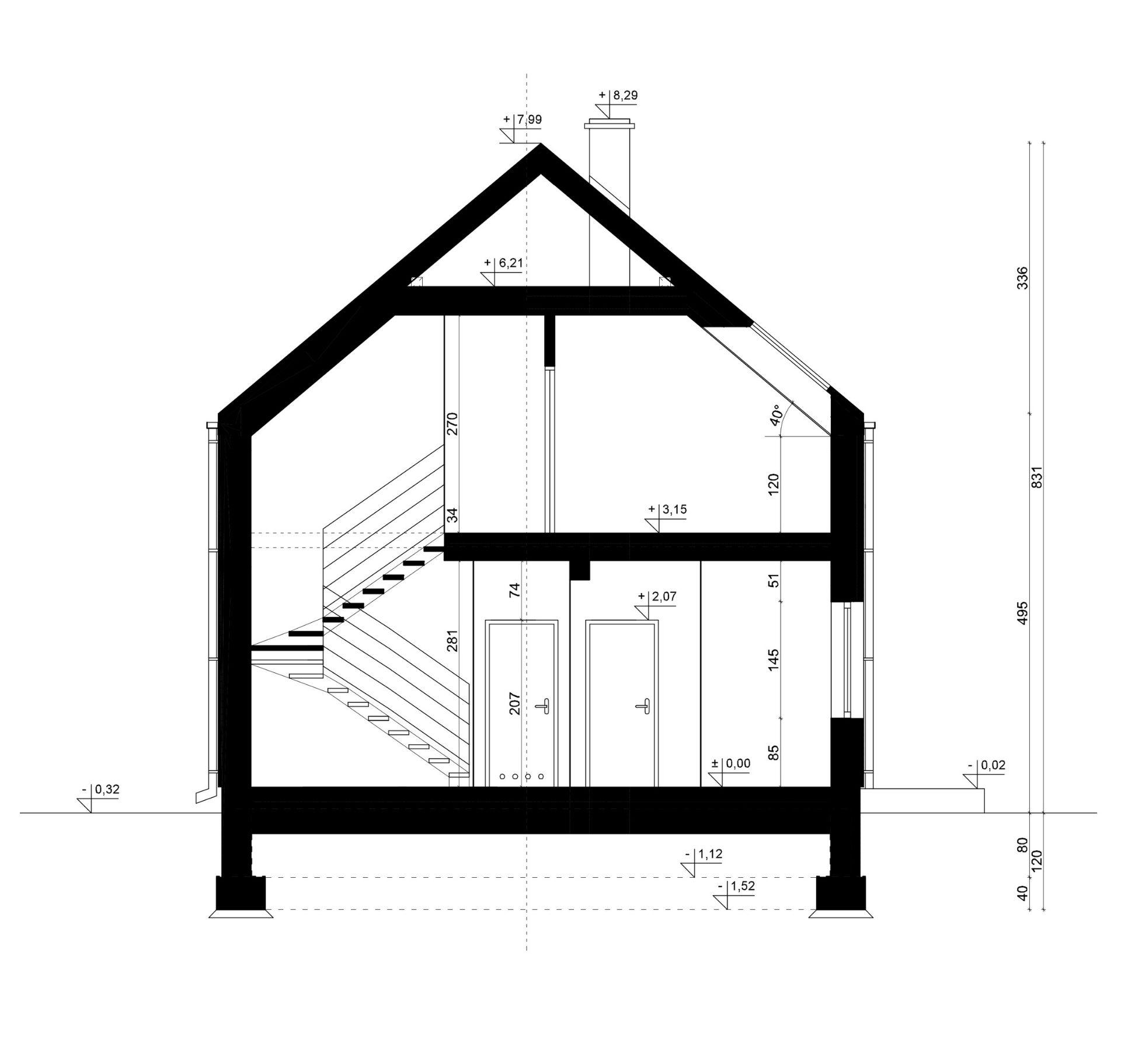 PRZEKRÓJ A-A - projekt domu SEJ-PRO 074 ENERGO