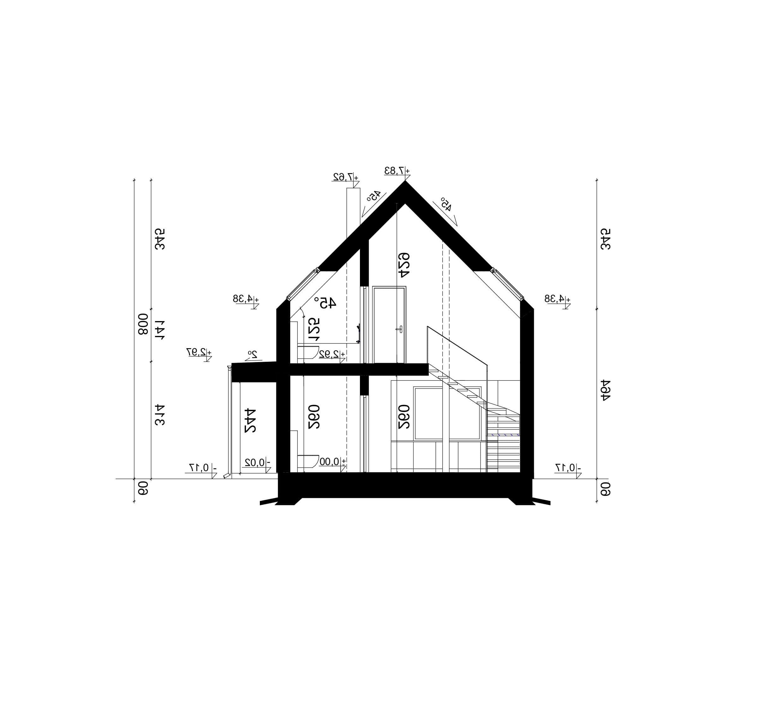 PRZEKRÓJ A-A - projekt domu SEJ-PRO 072 ENERGO - odbicie lustrzane