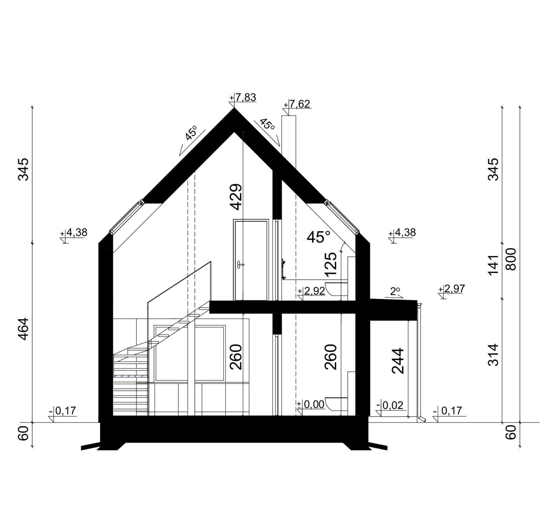 PRZEKRÓJ A-A - projekt domu SEJ-PRO 072 ENERGO
