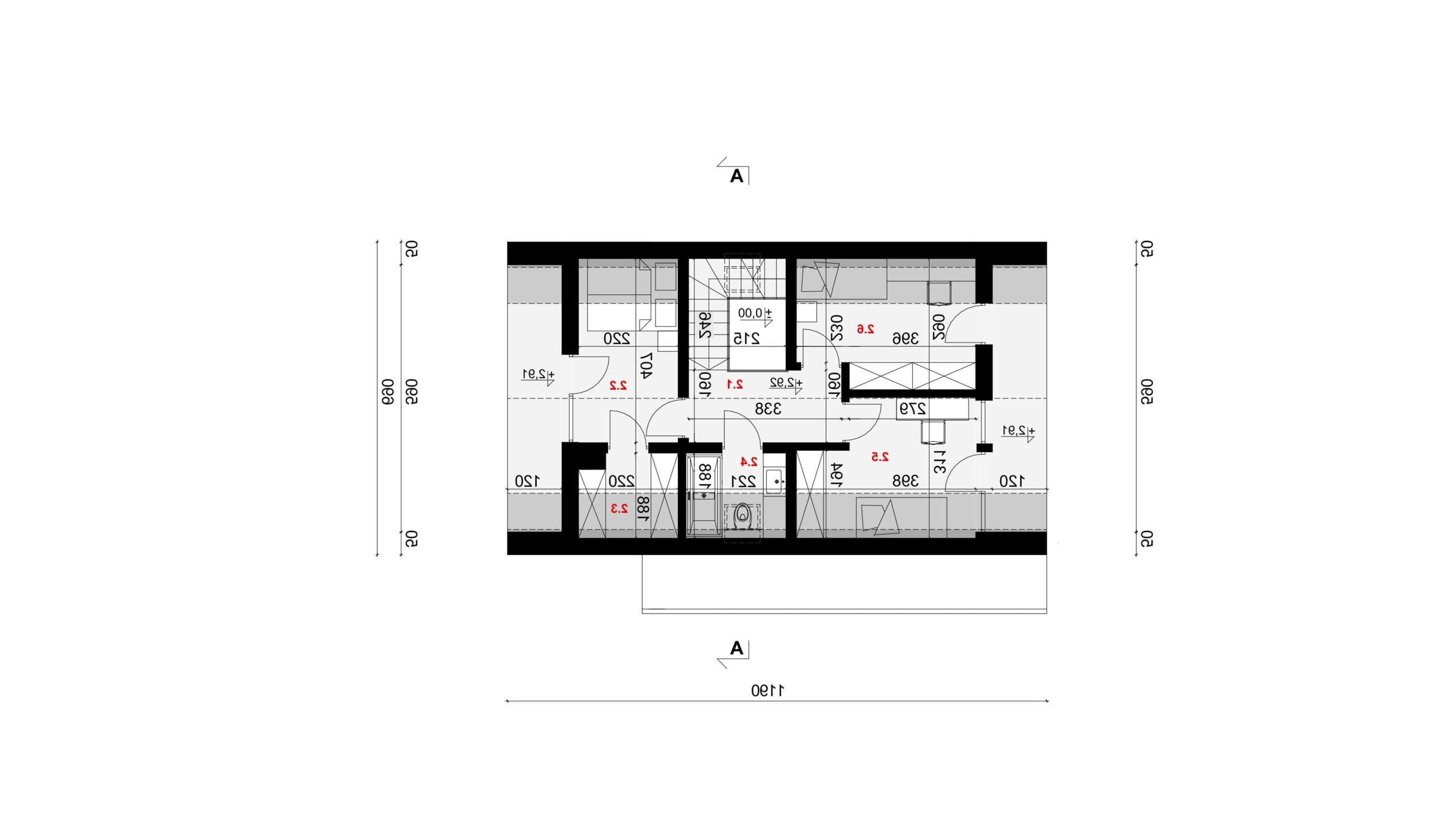 RZUT PODDASZA - projekt domu SEJ-PRO 072 ENERGO - odbicie lustrzane